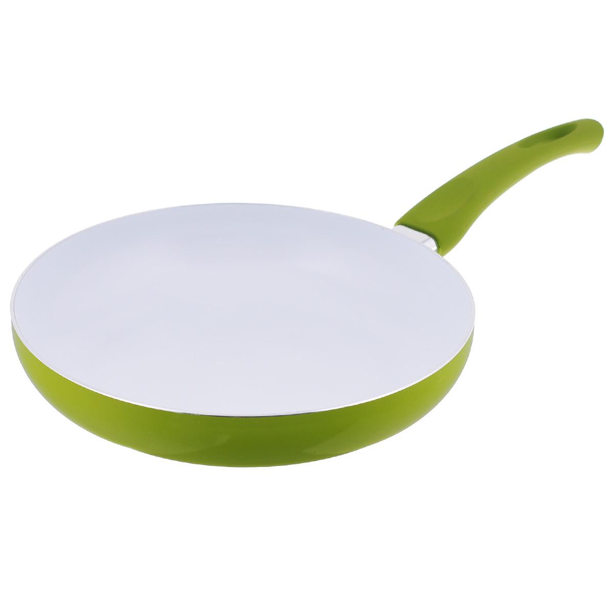 Сковорода Mayer & Boch, с керамическим покрытием, цвет: салатовый. Диаметр 26 см. 2076520765Сковорода Mayer & Boch изготовлена из литого алюминия с керамическим покрытием. Сковорода предназначена для здорового и экологичного приготовления пищи. Пища не пригорает и не прилипает к стенкам. Абсолютно гладкая поверхность легко моется. Посуда экологически чистая, не содержит примеси ПФОК. Рукоятка специального дизайна, выполненная из пластика с силиконовым покрытием, удобна и комфортна в эксплуатации. Внешнее цветное покрытие устойчиво к воздействию высоких температур. Можно использовать на газовых, галогенных, электрических плитах. Не подходит для индукционных плит. Можно мыть в посудомоечной машине. Высота стенки: 5,2 см.Толщина стенки: 2,5 мм.Толщина дна: 3,5 мм. Длина ручки: 19 см.