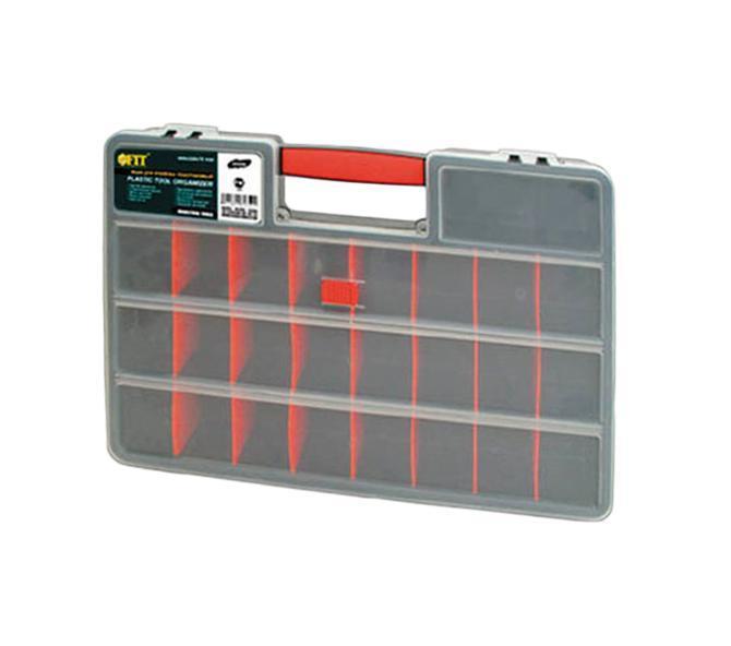 Ящик для крепежа FIT, 46 х 32 х 8 см60Ящик FIT 60 применяется для комфортного и бережного хранения различных инструментов и крепежей. Данный ящик имеет вместительную конструкцию и диагональную длину 18 дюймов. Также следует выделить, что данный ящик выполнен из специального ударопрочного пластика и обладает возможностью подсоединять различные дополнительные к себе секции для более оптимальной организации рабочего пространства.