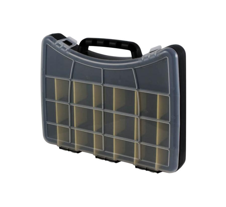 Ящик для крепежа FIT, 40 х 30 х 6 см. 6464Ящик FIT 64 удобное и необходимое приспособление для хранения различного инструмента, крепежа и расходных материалов. Также, ящик FIT 64 разделен на 22 одинаковых отделения для удобства хранения крепежа.Размер отделения: 6 см х 6 см х 6 см.