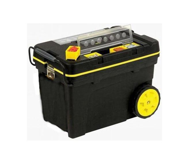 Ящик для инструментов Stanley Pro Mobile Tool, 62 х 38 х 44 см1-92-904Профессиональный большой ящик для инструментов на колесах Stanley 1-92-083. Оборудован тремя органайзерами, два из которых (по четыре съемных ячейки в каждом) предназначены для компактного хранения мелких деталей и креплений, а один - для оперативного хранения губцевого и измерительного инструмента, молотка и пр. Ящик оборудован большой удобной стальной ручкой, выдвигаемой из корпуса ящика, и колесами диаметром 178 см. Характеристики: Материал: пластик, металл. Размеры ящика: 62 см х 38 см х 44 см. Размеры лотка:59 см х 36 см х 10 см. Размеры органайзеров:2 по 33 см х 6 см х 4 см. Глубина ящика:34 см. Длина ручки:32 см. Размеры упаковки:62 см х 38 см х 44 см.