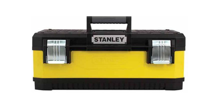 Ящик для инструментов Stanley 23, 59 см х 28 см х 21 см1-95-613Большой металло-пластиковый ящик для инструментов Stanley 1-95-613. Стенки ящика выполнены из окрашенного металла. Крышка ящика сделана из прочного пластика с рифленой поверхностью и пазом для удержания пиломатериалов. Ящик закрывается двумя большими металлическими замками с возможностью дополнительного запирания на навесной замок. Характеристики: Материал:пластик, металл. Размеры ящика: 59 см х 28 см х 21 см. Глубина ящика: 15 см. Размеры лотка: 38 см х 24 см х 4 см. Размеры упаковки: 59 см х 28 см х 21 см.