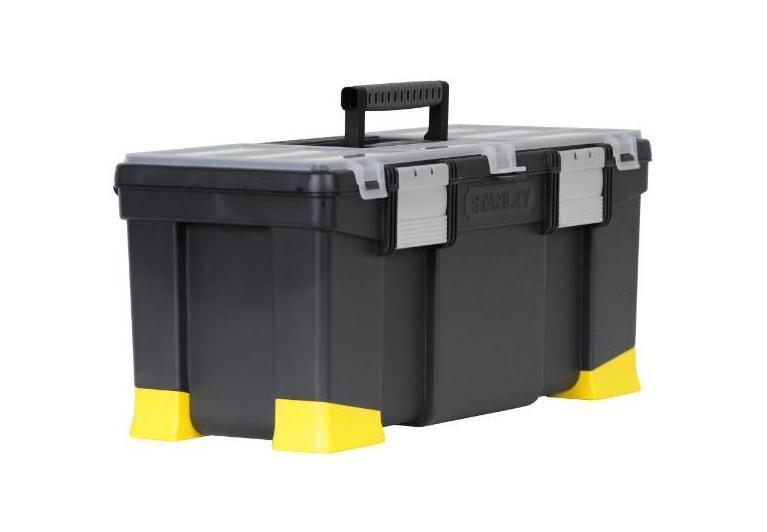 Ящик для инструментов Stanley Classic Stanley с органайзером, 221-97-512Высокопрочный профессиональный ящик для инструментов Classic Stanley 1-97-512 сочетает в себе эргономичность, доступную цену и высокое качество изделия. Ящик дает возможность содержать свои инструменты и расходные материалы в порядке. Под прозрачной крышкой расположен лоток с ручкой, который фиксируется алюминиевыми замками. Во вместительных отделениях ящика можно хранить молотки, ножницы, рулетку, пассатижи и т.п. Ударостойкий корпус ящика для инструментов Classic Stanley 1-97-512 легкий и удобный в использовании. Для электрика, маляра, отделочника ящик Classic Stanley 1-97-512 — настоящий подарок.Ударопрочный пластмассовый корпус;Алюминиевые защелки;Прочные пластмассовые опорные элементы;Съемное внутреннее отделение-лоток. Характеристики: Материал:пластик, металл. Размеры ящика: 55,6 см х 25,7 см х 24,8 см. Грубина ящика: 21 см. Размер лотка: 52 см х 19 см х 4 см. Размер упаковки: 55,6 см х 25,7 см х 24,8 см.