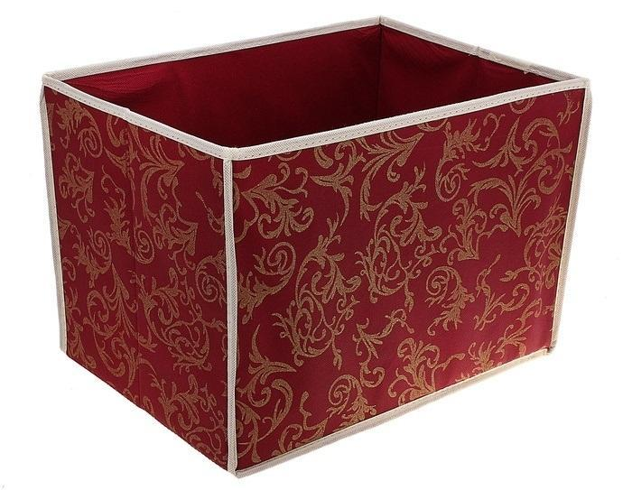 контейнер для хранения(жёсткий корпус)37*27*27см бордовый 868868Декоративный контейнер - отличный способ для хранение вещей!Благодаря универсальности изделия, в контейнере можно хранить самые разнообразные вещи: бижутерию, лекарства, швейные принадлежности.Такой контейнер поможет держать вещи в порядке. Декоративный контейнер даст Вам возможность сохранить все в одном месте, а также защитить вещи от пыли, грязи и влаги. Материал: Флизелин,картон