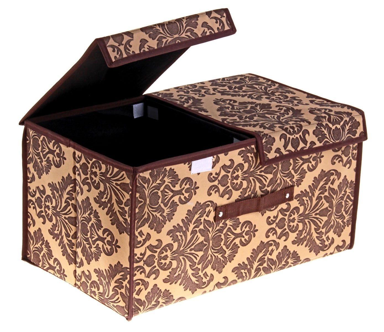 контейнер для хранения (жесткий) 50*30*25см коричневый, 2 отделения с 2 крышками, 709727709727Декоративный контейнер - отличный способ для хранение вещей!Благодаря универсальности изделия, в контейнере можно хранить самые разнообразные вещи: бижутерию, лекарства, швейные принадлежности.Такой контейнер поможет держать вещи в порядке. Декоративный контейнер даст Вам возможность сохранить все в одном месте, а также защитить вещи от пыли, грязи и влаги. Материал: флизелин,картон