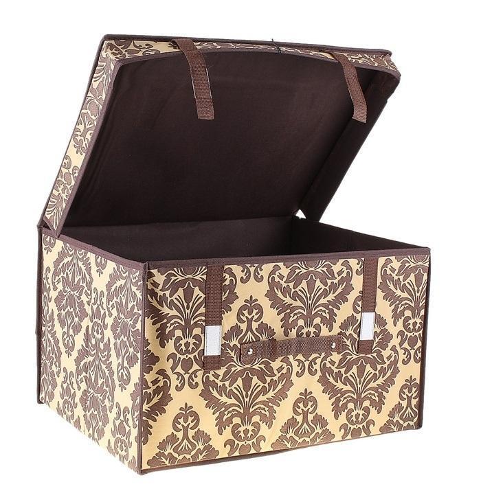 контейнер для хранения(жёсткий) 50*40*30см,коричневый 709744709744Декоративный контейнер - отличный способ для хранение вещей!Благодаря универсальности изделия, в контейнере можно хранить самые разнообразные вещи: бижутерию, лекарства, швейные принадлежности.Такой контейнер поможет держать вещи в порядке. Декоративный контейнер даст Вам возможность сохранить все в одном месте, а также защитить вещи от пыли, грязи и влаги. Материал: Флизелин,картон