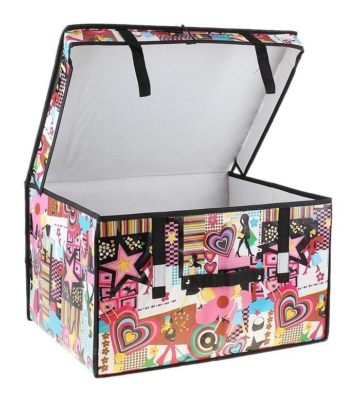 контейнер для хранения(жёсткий) Модница 50*40*30см 709749709749Декоративный контейнер - отличный способ для хранение вещей!Благодаря универсальности изделия, в контейнере можно хранить самые разнообразные вещи: бижутерию, лекарства, швейные принадлежности.Такой контейнер поможет держать вещи в порядке. Декоративный контейнер даст Вам возможность сохранить все в одном месте, а также защитить вещи от пыли, грязи и влаги. Материал: Клеёнка на флизелине,картон