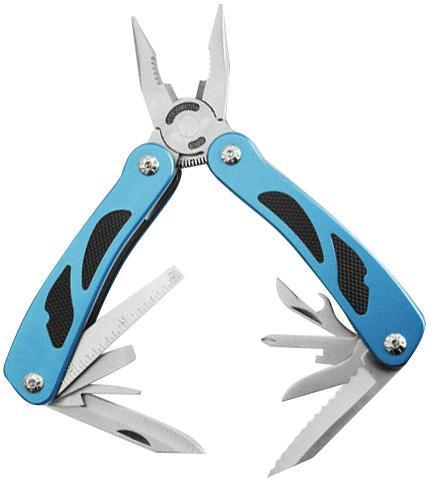 Мультитул Stinger MT-3211, цвет: серебристый, синий, черный, 9 инструментовMT-3211Stinger MT-3211 - мультитул, который выполнен по современным технологиям из прочной стали. Он имеет стильный дизайн и эргономичную рукоятку. Stinger MT-3211 содержит в себе 9 инструментов со следующими функциями: большое лезвие, крестовая отвертка, консервный нож, маленькое лезвие, линейка, шило, маникюрная пилочка, открывалка, отвертка 6 мм, пилка, плоскогубцы. Характеристики: Материал: металл, резина. Длина большого лезвия: 6 см. Длина маленького лезвия: 3 см. Размер мультитула в сложенном виде: 10,5 см х 5,5 см х 2 см. Размер в упаковке: 14,5 см х 7,5 см х 3,8 см.