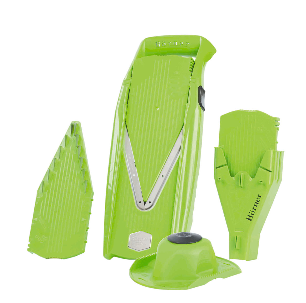 Овощерезка Borner Prima+, цвет: зеленый, 6 предметов3810099Овощерезка Borner Borner Prima+ всегда будет отличным и незаменимым помощником на вашей кухне. Она позволяет значительно сэкономить время и улучшить вкус и качество приготовленной пищи. Корпус овощерезки выполнен из ударопрочного ABS-пластика, а ножи из высококачественной нержавеющей стали.В комплект входит:- V-образная рама, в которую вставляют вставки; - Безопасный плододержатель;- Безножевая вставка; - Вставка с ножами 3,5 мм; - Вставка с ножами 7 мм;- Бокс для вставок.Бокс для вставок, идущий в комплекте к овощерезке Prima+, это удобное приспособление в двух аспектах: для хранения всех вставок, входящих в комплект, плюс он крепится на комплект так, что становится подставкой для него и плододержателя.В основную V-образную раму вставляются попеременно три разные вставки:- Плоская (безножевая), на которой режутся 4 толщины колечек и пластинок. Кроме того, ее же можно поставить в положение блок и закрыть этой вставкой наглухо лезвия на основной раме во время ее хранения. Изменение толщины нарезки на вставке происходит путем легкого нажатия со смещением, а обратно - нажатием на боковую кнопку на корпусе;- Вставка с ножами 7 мм. В двух положениях дает соломку, брусочки, кубики и прочее толщиной 7 мм в одном положении и 3,5 мм во втором положении;- Вставка с ножами 3,5 мм. В двух положениях дает соломку, брусочки, кубики и прочее толщиной 3,5 мм в одном положении и 1,8 мм во втором положении. Передвижение вставок осуществляется с помощью боковой кнопки.