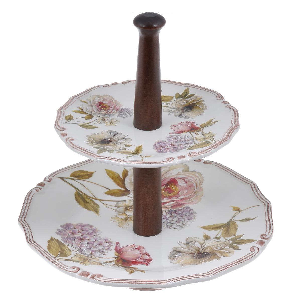 Ваза для фруктов LCS Сады Флоренции, двухъярусная ваза для фруктов двухъярусная 27х32см лаванда 942517