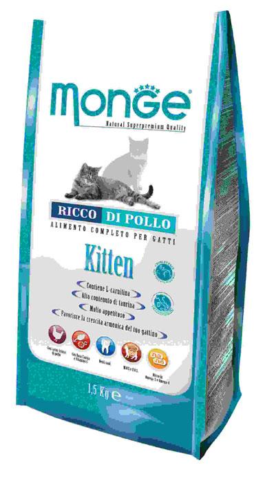 Корм сухой Monge для котят и беременных кошек, 1,5 кг70004879Сухой корм Monge - это полноценный рацион для котят. Для ваших котят моложе года, а также для беременных и кормящих кошек, данный корм является идеальным для здорового и сбалансированного роста. В корме содержатся продукты, богатые белками высокой биологической ценностью, обеспечивая ваших питомцев необходимыми пищевыми и энергетическими потребностями в питании. Более того, оптимальное соотношение жирных кислот Омега-3 и Омега-6 эффективно борются с аллергическими реакциями. Состав корма обеспечит здоровое сердце и остроту зрения, а также идеальный контроль над кишечной флорой. Высокое содержание глюкозамина и хондроитина способствует здоровым суставам.Состав: куриное мясо (свежее мин. 10%, обезвоженное 38%), кукурузный глютен, кукуруза, рис (мин. 6%), куриное масло, свекольный жом, масло лосося, дрожжи, яичный крахмал, целлюлоза (волокна гороха), Юкка Шидигера, фруктоолигосахариды 336 мг/кг, маннан-олигосахариды 336 мг/кг.Анализ: протеин 34%, масла и жиры 20%, сырая клетчатка 2,5%, сырая зола, 8,5% магний 0,15%, кальций 1,8%, фосфор 1,37%, линолевая кислота 4,60%, Омега-6 3,74%, Омега-3 0,76%.Пищевые добавки, витамины: витамин А 25750 МЕ/кг, витамин D3 1788 МЕ/кг, витамин Е 165 мг/кг, витамин С 46 мг/кг, таурин 917 мг/кг, холина хлорид 200 мг/кг, хлорид натрия 3820 мг/кг, витамин B1 19 мг/кг, витамин B2 13 мг/кг, витамин В6 6 мг/кг, витамин В12 1,14 мг/кг, биотин 0,34 мкг / кг, витамин РР 32 мг/кг, цинк 140 мг/кг, железо 87 мг/кг, марганец 33 мг/кг, медь 14 мг/кг, йод 0,87 мг/кг, аминокислоты (метионин 685 мг/кг).Товар сертифицирован.
