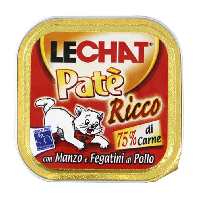 """Консервы для кошек Monge """"Lechat"""", с говядиной и куриной печенью, 100 г"""
