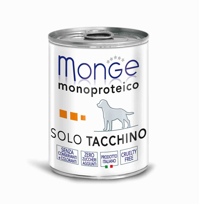 Консервы для собак Monge Monoproteico Solo, паштет из индейки, 400 г70014229Консервы для собак Monge Monoproteico Solo - монобелковый паштет с мясом индейки для собак. Состав: свежая индейка (соответствует 100% использованного мяса), минеральные вещества, витамины. В данном продукте нет клейковины, красителей, консервантов, а также глютена. Технологические добавки: загустители и желирующие вещества. Анализ компонентов: сырой белок 8%, сырые масла и жиры 6,5%, сырая клетчатка 0,5%, сырая зола 1,5%, влажность 80%. Витамины и добавки на 1 кг: витамин А 2500 МЕ, витамин D3 300 МЕ, витамин Е 7 мг. Товар сертифицирован.