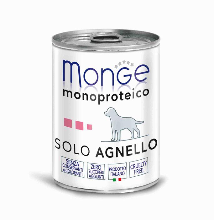 Консервы для собак Monge Monoproteico Solo, паштет из ягненка, 400 г monge корм для собак monge monoproteico solo паштет оленина конс 150г