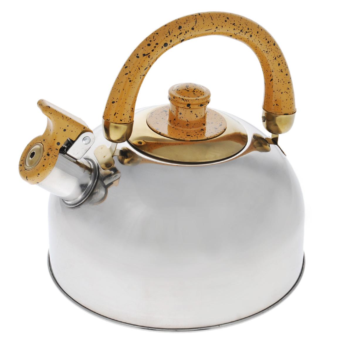 Чайник Mayer & Boch, со свистком, цвет: золотистый, 2 л. MB-1622MB-1622Чайник Mayer & Boch выполнен из шлифованной зеркальной нержавеющей стали высокой прочности. Чайник оснащен откидным свистком, который громко оповестит о закипании воды. Удобная эргономичная ручка и крышка выполнены из бакелита. Такой чайник идеально впишется в интерьер любой кухни и станет замечательным подарком к любому случаю. Подходит для газовых, электрических, стеклокерамических, галогеновых плит. Не подходит для индукционных плит. Можно мыть в посудомоечной машине.Диаметр чайника (по верхнему краю): 8,5 см.Высота чайника (с учетом ручки): 20 см.