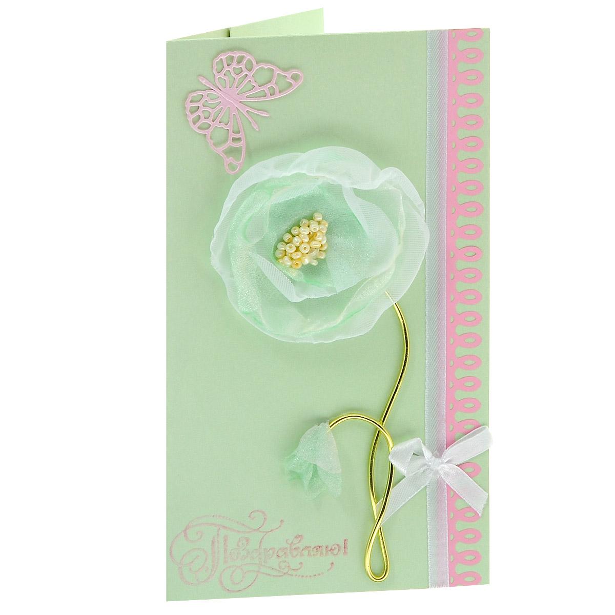 ОЖ-0012 Открытка-конверт «Поздравляю!» (мятная, текстильный цветок). Студия «Тётя Роза»95542Характеристики: Размер 19 см x 11 см.Материал: Высоко-художественный картон, бумага, декор. Данная открытка может стать как прекрасным дополнением к вашему подарку, так и самостоятельным подарком. Так как открытка является и конвертом, в который вы можете вложить ваш денежный подарок или просто написать ваши пожелания на вкладыше. Сочетание розового и мятного цветов в дизайне открытки наделяют это поздравление особым нежным трепетом и свежим восприятием. Стилизованный цветочек из тонкой шифоновой ткани выполнен и собран вручную. Крылья бабочки трепещут от движения воздуха и отбрасывают тень на фон. Также открытка упакована в пакетик для сохранности.Обращаем Ваше внимание на то, что открытка может незначительно отличаться от представленной на фото.Открытки ручной работы от студии Тётя Роза отличаются своим неповторимым и ярким стилем. Каждая уникальна и выполнена вручную мастерами студии. (Открытка для мужчин, открытка для женщины, открытка на день рождения, открытка с днем свадьбы, открытка винтаж, открытка с юбилеем, открытка на все случаи, скрапбукинг)
