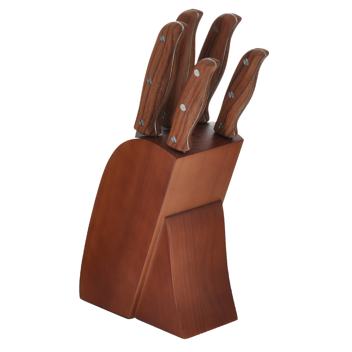 Набор ножей Mayer & Boch, на подставке, цвет: коричневый, 6 предметов. 2362123621Набор ножей Mayer & Boch состоит из поварского ножа, ножа для хлеба,разделочного ножа, универсального ножа и ножа для чистки овощей и фруктов.Предметы набора устанавливаются в удобную подставку, изготовленную изкачественной древесины.Ножи выполнены из высококачественной нержавеющей стали, котораяобеспечивает высокие режущие свойства кромки клинка. Рукоятки ножейвыполнены под дерево из ABS пластика. Тщательно разработанный дизайнрукоятки и качество ее шлифовки позволяет ножу удобно располагаться в руке.Не рекомендуется мыть в посудомоечной машине. Материал подставки: дерево. Общая длина поварского ножа: 33 см. Длина лезвия поварского ножа: 20,3 см. Общая длина ножа для хлеба: 33,5 см. Длина лезвия ножа для хлеба: 20,3 см. Общая длина разделочного ножа: 33,5 см. Длина лезвия разделочного ножа: 20,3. Общая длина универсального ножа: 24 см. Длина лезвия универсального ножа: 12,7 см. Общая длина ножа для чистки овощей и фруктов: 20,5 см. Длина лезвия ножа для чистки овощей и фруктов: 8,9 см. Размер подставки: 17 см х 8,5 см х 20 см.