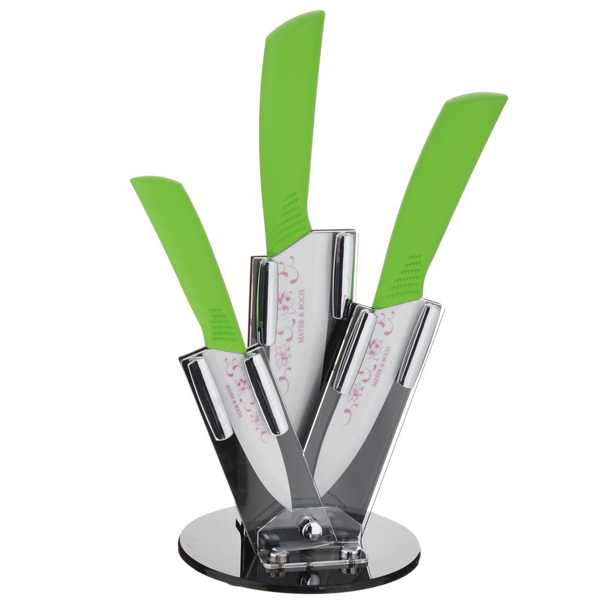 Набор керамических ножей Mayer & Boch Modern, цвет: зеленый, 4 предмета. 2185721857Набор ножей Mayer & Boch Modern состоит из поварского ножа,универсального ножа, ножа для чистки и подставки. Лезвия ножей выполненыиз высококачественной циркониевой керамики и декорированы цветочныморнаментом.Керамические ножи не подвергаются коррозии и не придают металлическогопривкуса или запаха, а также сохраняют свежесть продуктов. Режущая кромкалезвий устойчива к притуплению. Ножи высоко гигиеничны илегки в очистке.Рукоятки эргономичной формы выполнены из ABS-пластика с прорезиненнымпокрытием. Специальный дизайн рукоятки обеспечивает комфортный и легкоконтролируемый захват.В комплект входит акриловая подставка.В наборе есть все необходимое для ежедневной нарезки фруктов, овощей имяса. Ножи не рекомендуется мыть в посудомоечной машине.Материал подставки: акрил. Длина лезвия поварского ножа: 15,2 см.Общая длина поварского ножа: 27 см.Длина лезвия универсального ножа: 13 см.Общая длина универсального ножа: 25 см.Длина лезвия ножа для чистки: 11 см.Общая длина ножа для чистки: 21 см.Размер подставки (ДхШхВ): 13,5 см х 13,5 см х 18,5 см.