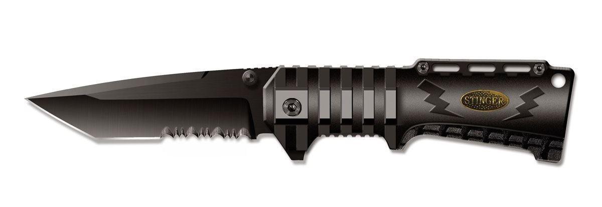 Нож складной Stinger SA-574B, цвет: черный, 9 см6900000431856Складной нож Stinger SA-574B образец недорогого, но очень качественного изделия.Тип лезвия American Tanto. Эти клинки, далекие потомки самурайских ножей, стали сейчас очень популярны. Эта форма лезвия часто используется в боевых ножах. Открывается нож с помощью шпынька на лезвии или экстрактора на обухе. Фиксирование ножа осуществляется при помощи замка Liner Lock. Это несомненно, самый простой и один из самых надежных средст фиксации. По своей сути, это пластина, которая при открытии входит в выемку у основания лезвия и надежно запирает его. Чтобы закрыть нож надо просто сдвинуть пластину пальцем в бок. Все просто, ломаться практически нечему. Надежность замка зависит только от прочности запирающей пластины. В открытом состоянии нож фиксируется, что значительно повышает травмобезопасность. Рукоятка профилирована и имеет боковые накладки из анодированного алюминия, повышающие надежность и удобство хвата. Характеристики: Материал: металл, пластик. Длина лезвия: 9 см. Размер ножа в сложенном виде: 12 см х 4 см х 2 см. Размер в упаковке: 13,5 см х 5,5 см х 2,5 см.