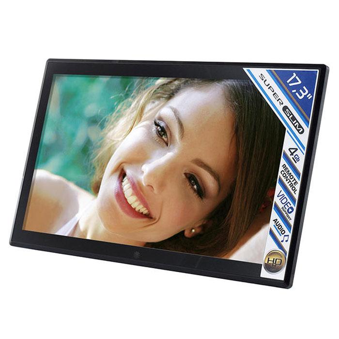 Rekam VisaVis L-170 цифровая рамкаL-170VisaVis L-170 – цифровая рамка с большим экраном (17,3), в стильном, тонком корпусе.Благодаря поддержке самых распространенных мультимедийных форматов фоторамку можно использовать длятрансляции видеороликов. Звук может выводиться через наушники или встроенные динамики. 4 ГБ встроеннойпамяти хватает для хранения большого объема данных. При необходимости встроенную память можно расширитьза счет съемных карт памяти (макс. объем карты 32 ГБ). Конструкция рамки позволяет установить ее на столе, или повесить на стену. Высокое разрешение экрана(1600x900), позволяет изображению отлично выглядеть вблизи, и на расстоянии. Пульт дистанционногоуправления делает работу с устройством очень удобной. Режим слайд-шоу с большим набором эффектов, излюбого фото архива сделает яркую презентацию.