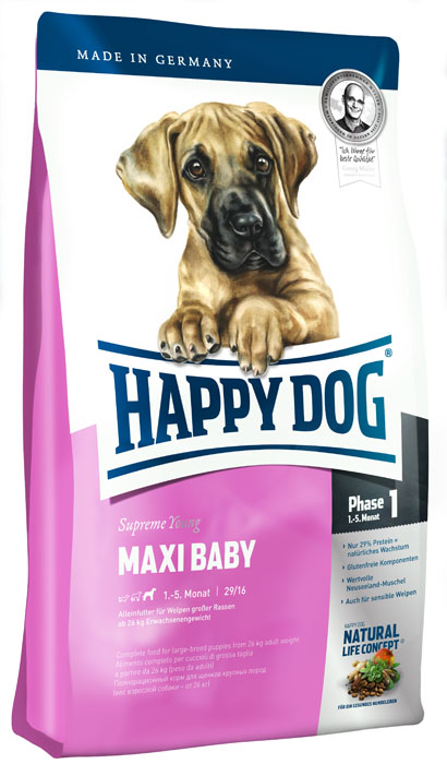 Корм сухой Happy Dog Maxi Baby для щенков крупных пород от 1 до 6 месяцев, 15 кг15320Сухой корм Happy Dog Maxi Baby - полноценный сбалансированный сухой корм для щенков крупных пород (на 1 фазе роста от 1 до 6 месяцев). Вес взрослой собаки от 26 кг. Корм для щенков крупных пород должен соответствовать особым требованиям: гранулы корма должны быть больше, чтобы предотвратить слишком быстрое их проглатывание. Количество энергии и протеина в корме для щенков должно соответствовать особенным потребностям интенсивной фазы роста. Maxi Baby объединяет высококачественную птицу, морскую рыбу, рис, а также ценного новозеландского моллюска в рецептуре, рекомендованной ветеринарными врачами, и содержит 26,5% протеина. Этот корм для щенков оптимально подходит для беспроблемного и щадящего кормления щенков крупных пород, в том числе чувствительных, с 4 недели до включительно 5 месяца. Happy Dog - идеальный вариант для кормления собак с учетом их особых потребностей: содержит только тщательно отобранные компоненты, отличается особо бережной технологией приготовления и оптимизированным уровнем белков и энергии. Эксклюзивная рецептура дополнена уникальным комплексом Natural Life Concept из натуральных ингредиентов. Состав: птица (26,5%), кукурузная мука, рисовая мука, птичий жир, лосось (5%), картофельные хлопья, клетчатка, свекольная пульпа, масло из семян подсолнечника, яблочная пульпа, сухое цельное яйцо, хлорид натрия, дрожжи, хлорид калия, рапсовое масло, морские водоросли (0,15%), льняное семя (0,15%), дрожжи (экстрагированные), расторопша, артишок, одуванчик, имбирь, березовый лист, крапива, ромашка, кориандр, розмарин, шалфей, корень солодки, тимьян, мясо моллюсков (0,01%). (Общий объем сухих трав 0,14%).Аналитические составляющие: сырой протеин 29%, сырой жир 16%, сырая клетчатка 3%, сырая зола 6,5%, кальций 1,4%, фосфор 1%, натрий 0,4%, Омега-6 жирные кислоты 3%, Омега-3 жирные кислоты 0,4%. Добавки (на 1 кг): витамин А 12000 МЕ, витамин Д3 1200 МЕ, витамин Е 75 мг, витами