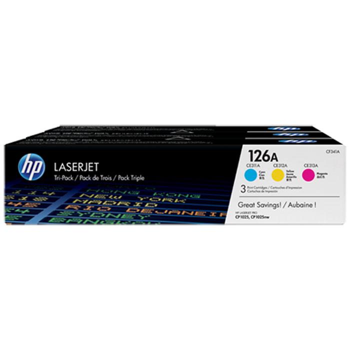 HP CF341A для цветных принтеров HP LaserJet Pro CP1025, Yellow Blue PurpleCF341AУпаковка из трех картриджей (голубой, пурпурный, желтый) с тонером HP 126A LaserJet позволяет получить профессиональное качество печати по более выгодной цене по сравнению с отдельными картриджами. Купите упаковку из трех цветных картриджей с тонером и печатайте изображения с насыщенными цветами, используя технологию HP ColorSphere.