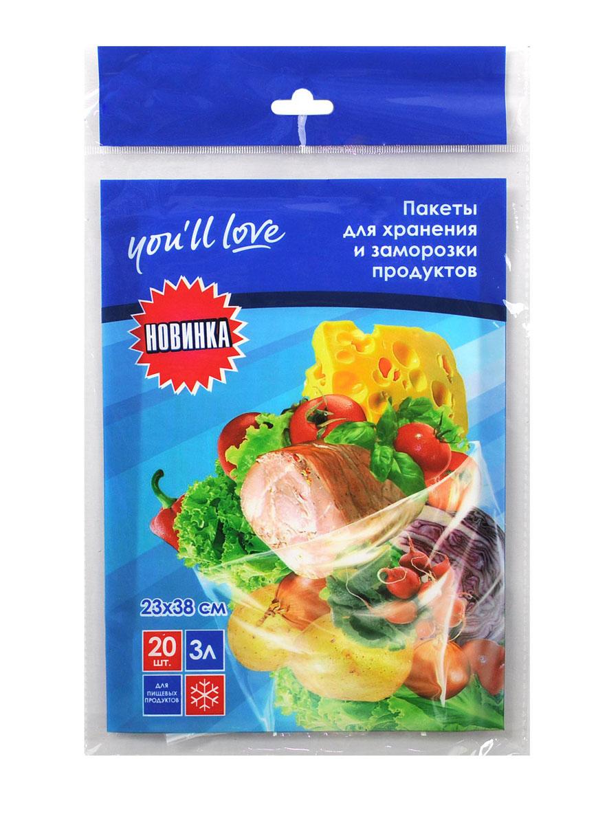 Пакеты для хранения и заморозки продуктов Youll love, 3 л, 23 х 38 см, 20 шт58283Пакеты Youll love предназначены для упаковки продуктов, а также для хранения и заморозки в морозильной камере. Предотвращают смешивание запахов. Изготовлены из нетоксичного материала.