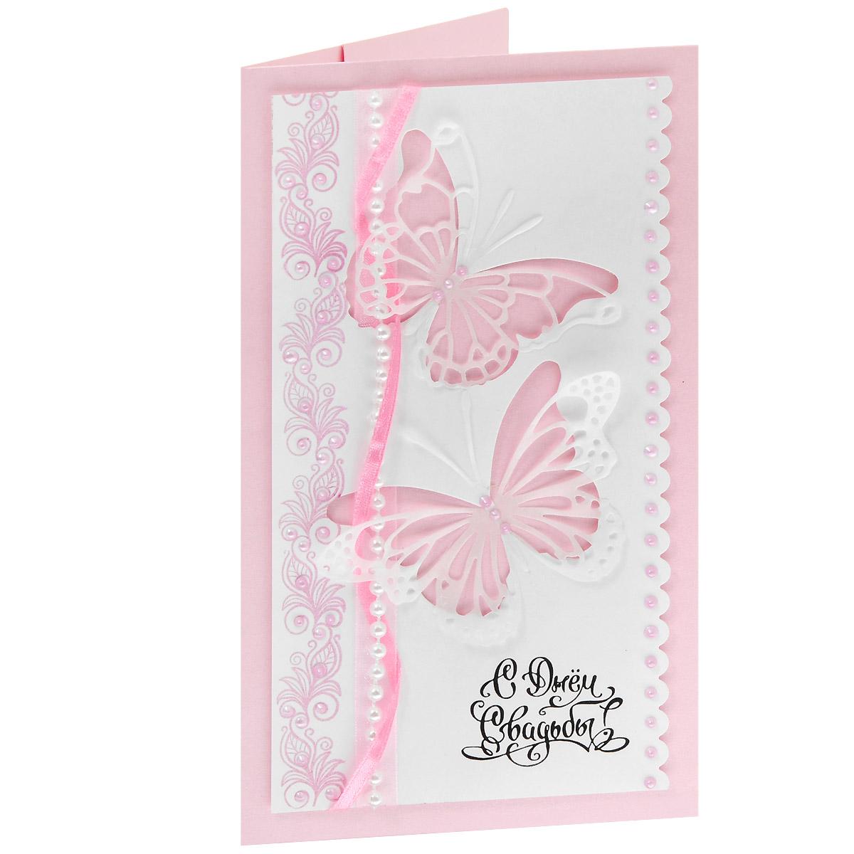 ОСВ-0003 Открытка-конверт «С Днём Свадьбы!» (порхающие бабочки, розовая). Студия «Тётя Роза»94984Характеристики: Размер 19 см x 11 см.Материал: Высоко-художественный картон, бумага, декор. Данная открытка может стать как прекрасным дополнением к вашему подарку, так и самостоятельным подарком. Так как открытка является и конвертом, в который вы можете вложить ваш денежный подарок или просто написать ваши пожелания на вкладыше. Почти невесомые ажурные бабочки вырезаны из полупрозрачной бумаги. Узор из вензелей украшает левый край лицевой части. Его дублируют переплетающиеся между собой атласные и капроновые ленты. Изобилие жемчуга обогащает общую композицию.Также открытка упакована в пакетик для сохранности.Обращаем Ваше внимание на то, что открытка может незначительно отличаться от представленной на фото.Открытки ручной работы от студии Тётя Роза отличаются своим неповторимым и ярким стилем. Каждая уникальна и выполнена вручную мастерами студии. (Открытка для мужчин, открытка для женщины, открытка на день рождения, открытка с днем свадьбы, открытка винтаж, открытка с юбилеем, открытка на все случаи, скрапбукинг)