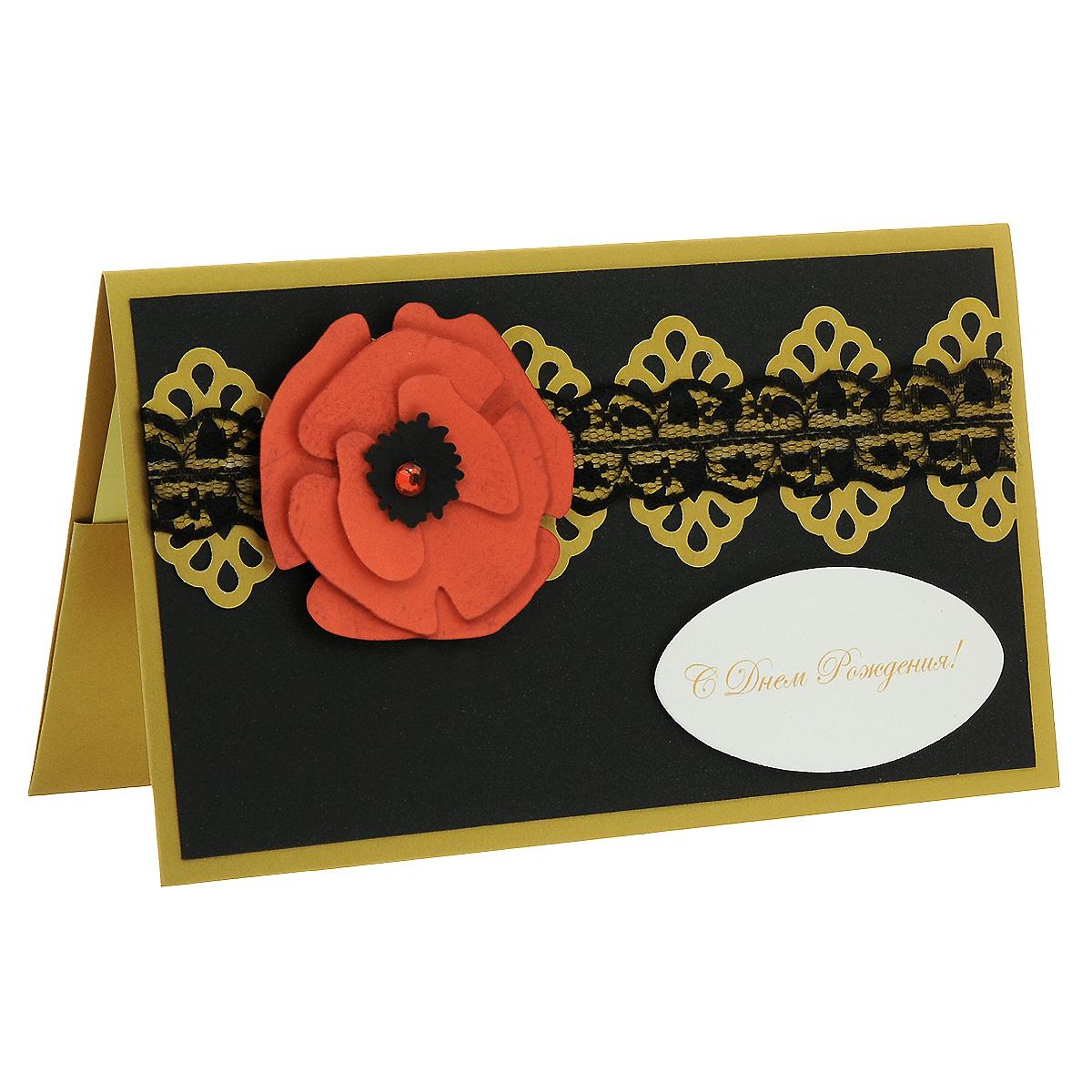 ОЖ-0018 Открытка-конверт «С Днём Рождения!» (алый мак на черном). Студия «Тётя Роза»94542Характеристики: Размер 19 см x 11 см.Материал: Высоко-художественный картон, бумага, декор. Данная открытка может стать как прекрасным дополнением к вашему подарку, так и самостоятельным подарком. Так как открытка является и конвертом, в который вы можете вложить ваш денежный подарок или просто написать ваши пожелания на вкладыше. Благородноеи очень торжественное сочетание черных,красных и золотых цветов придает этой открытке изысканный стиль. Стилизованный цветок мака вырезан и затонирован вручную. В декоре использовано черное капроновое кружево и блестящий стразик. Также открытка упакована в пакетик для сохранности.Обращаем Ваше внимание на то, что открытка может незначительно отличаться от представленной на фото.Открытки ручной работы от студии Тётя Роза отличаются своим неповторимым и ярким стилем. Каждая уникальна и выполнена вручную мастерами студии. (Открытка для мужчин, открытка для женщины, открытка на день рождения, открытка с днем свадьбы, открытка винтаж, открытка с юбилеем, открытка на все случаи, скрапбукинг)