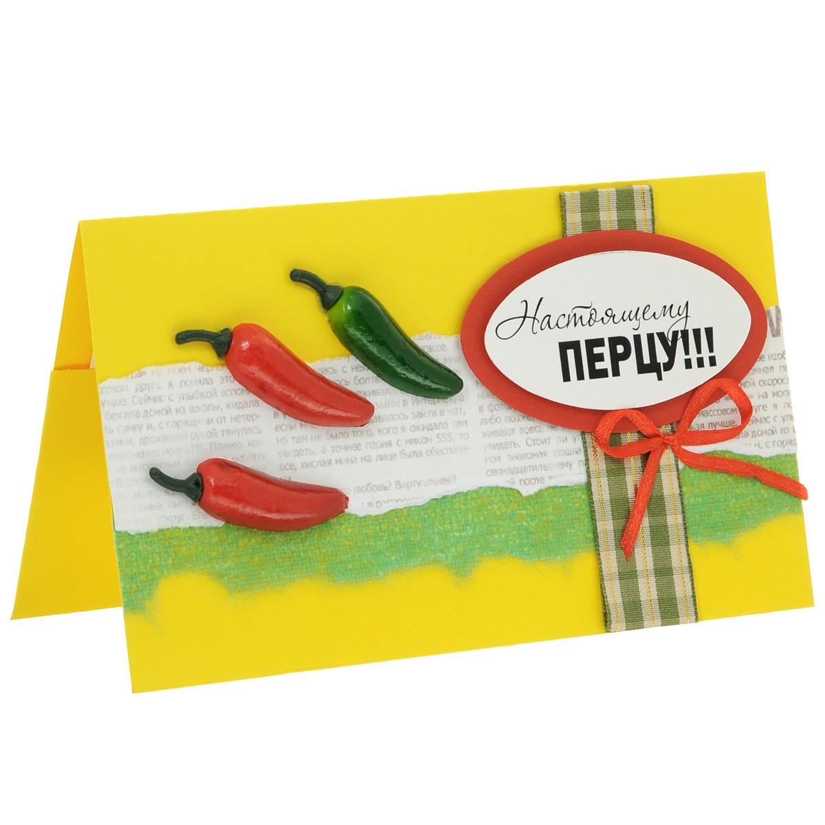 ОМ-0003 Открытка-конверт «Настоящему перцу!». Студия «Тётя Роза»ILAM-03Характеристики: Размер 19 см x 11 см.Материал: Высоко-художественный картон, бумага, декор. Данная открытка может стать как прекрасным дополнением к вашему подарку, так и самостоятельным подарком. Так как открытка является и конвертом, в который вы можете вложить ваш денежный подарок или просто написать ваши пожелания на вкладыше. Выразительная и «острая» открытка создана на сочетании ярких контрастов и поэтому берет на себя много внимания. В дизайне использованы разнофактурные материалы: печатный принт, атласные и тканые ленты. Почти настоящие острые перчики задают теме выразительный тон и некую пикантность. Обращаем Ваше внимание на то, что открытка может незначительно отличаться от представленной на фото.Открытки ручной работы от студии Тётя Роза отличаются своим неповторимым и ярким стилем. Каждая уникальна и выполнена вручную мастерами студии. (Открытка для мужчин, открытка для женщины, открытка на день рождения, открытка с днем свадьбы, открытка винтаж, открытка с юбилеем, открытка на все случаи, скрапбукинг)