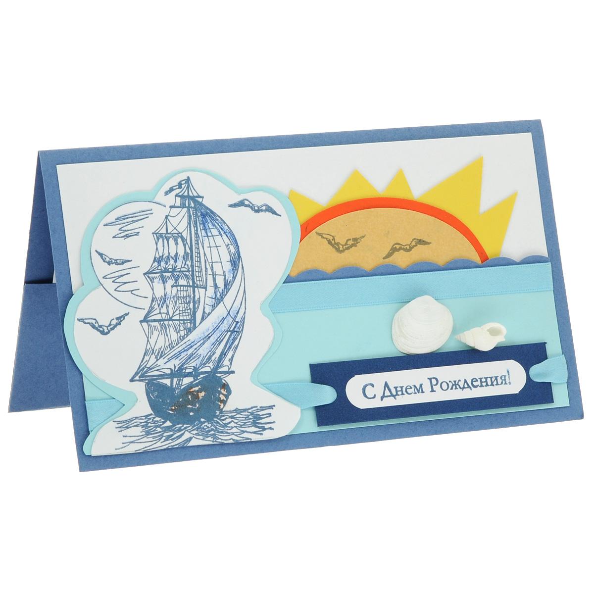 ОМ-0001 Открытка-конверт «С Днём Рождения!» (Парусник, бумажные волны). Студия «Тётя Роза»U0401-001-CBLХарактеристики: Размер 19 см x 11 см.Материал: Высоко-художественный картон, бумага, декор. Данная открытка может стать как прекрасным дополнением к вашему подарку, так и самостоятельным подарком. Так как открытка является и конвертом, в который вы можете вложить ваш денежный подарок или просто написать ваши пожелания на вкладыше. Открытка про море, солнце и попутный ветер, в расправленных парусах. В декоре использована тонкая атласная лента и настоящие морские ракушки. Также открытка упакована в пакетик для сохранности.Обращаем Ваше внимание на то, что открытка может незначительно отличаться от представленной на фото.Открытки ручной работы от студии Тётя Роза отличаются своим неповторимым и ярким стилем. Каждая уникальна и выполнена вручную мастерами студии. (Открытка для мужчин, открытка для женщины, открытка на день рождения, открытка с днем свадьбы, открытка винтаж, открытка с юбилеем, открытка на все случаи, скрапбукинг)