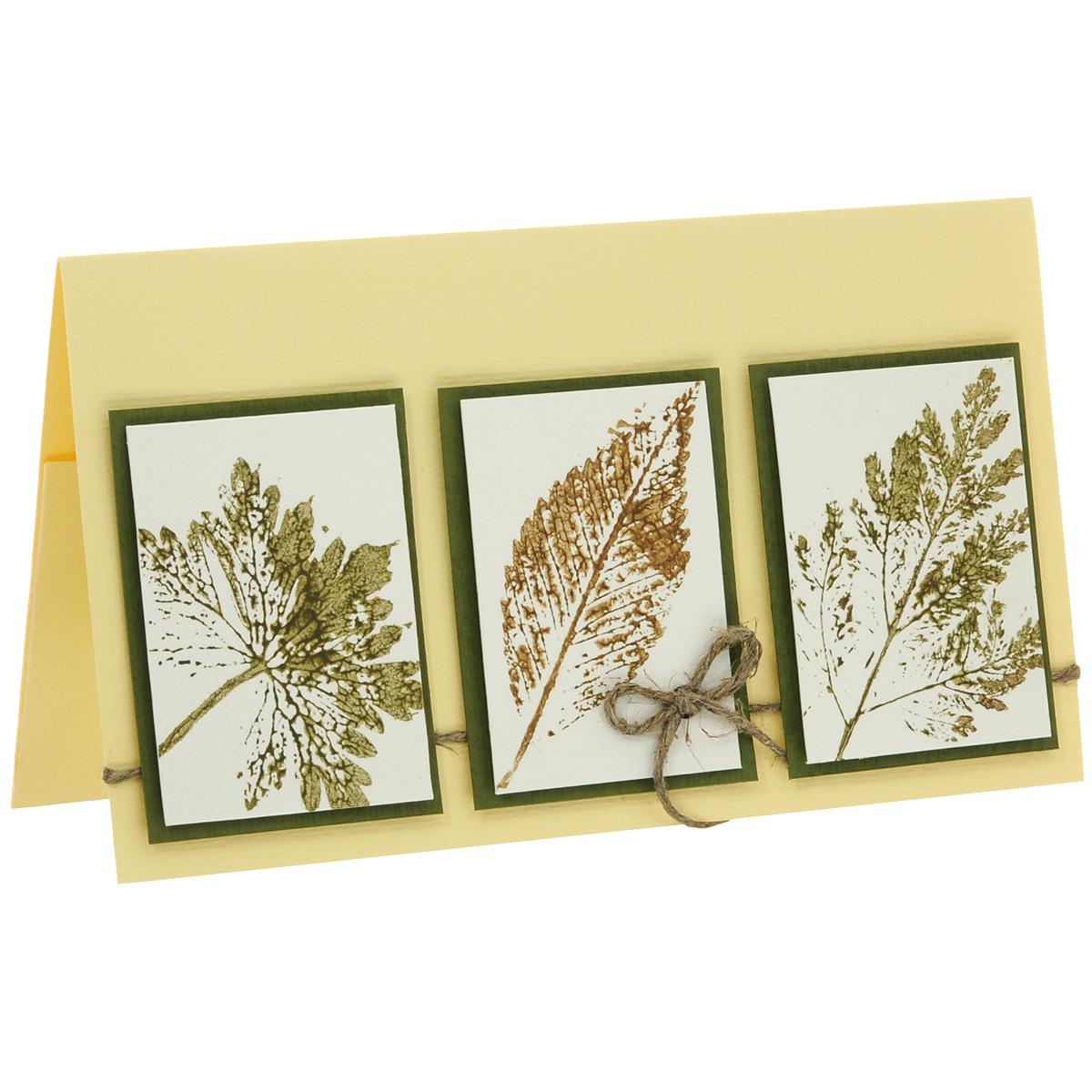 ОРАЗ-0005 Открытка-конверт (штампированные листья). Студия «Тётя Роза»94981Характеристики: Размер 19 см x 11 см.Материал: Высоко-художественный картон, бумага, декор. Данная открытка может стать как прекрасным дополнением к вашему подарку, так и самостоятельным подарком. Так как открытка является и конвертом, в который вы можете вложить ваш денежный подарок или просто написать ваши пожелания на вкладыше. Природная чистота и выразительность прочитываются в отпечатках настоящих осенних листьев в рамочках, сделанных акриловыми красками вручную. Натуральные цвета и льняной шнур не нарушают чистоты восприятия. Отсутствие надписи позволяет использовать данный конверт для любого значимого события. Также открытка упакована в пакетик для сохранности.Обращаем Ваше внимание на то, что открытка может незначительно отличаться от представленной на фото.Открытки ручной работы от студии Тётя Роза отличаются своим неповторимым и ярким стилем. Каждая уникальна и выполнена вручную мастерами студии. (Открытка для мужчин, открытка для женщины, открытка на день рождения, открытка с днем свадьбы, открытка винтаж, открытка с юбилеем, открытка на все случаи, скрапбукинг)