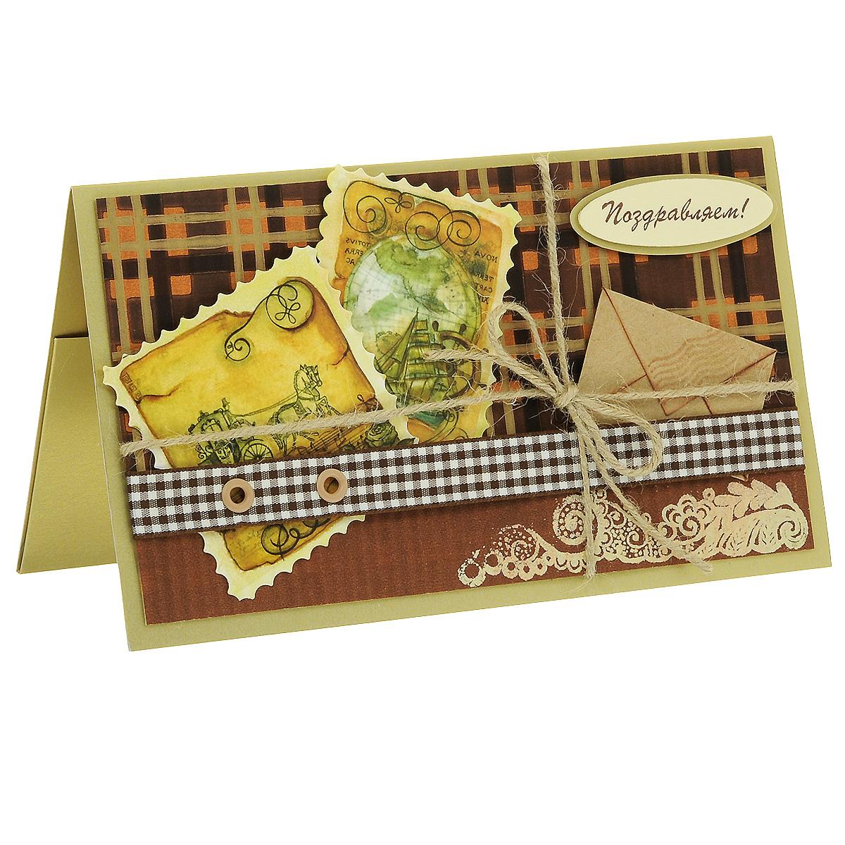 ОМ-0012 Открытка-конверт «Поздравляем!». Студия «Тётя Роза»94966Характеристики: Размер 19 см x 11 см.Материал: Высоко-художественный картон, бумага, декор. Данная открытка может стать как прекрасным дополнением к вашему подарку, так и самостоятельным подарком. Так как открытка является и конвертом, в который вы можете вложить ваш денежный подарок или просто написать ваши пожелания на вкладыше. Яркий поздравительный конверт в коричневой гамме несет в себе идею путешествия. В дизайне использованы разные виды бумаг, льняной шнур, тканая лента и металлические люверсы. Дополнительный элемент - ажурный вензель -выполнен в технике горячего термоподъема. Также открытка упакована в пакетик для сохранности.Обращаем Ваше внимание на то, что открытка может незначительно отличаться от представленной на фото.Открытки ручной работы от студии Тётя Роза отличаются своим неповторимым и ярким стилем. Каждая уникальна и выполнена вручную мастерами студии. (Открытка для мужчин, открытка для женщины, открытка на день рождения, открытка с днем свадьбы, открытка винтаж, открытка с юбилеем, открытка на все случаи, скрапбукинг)