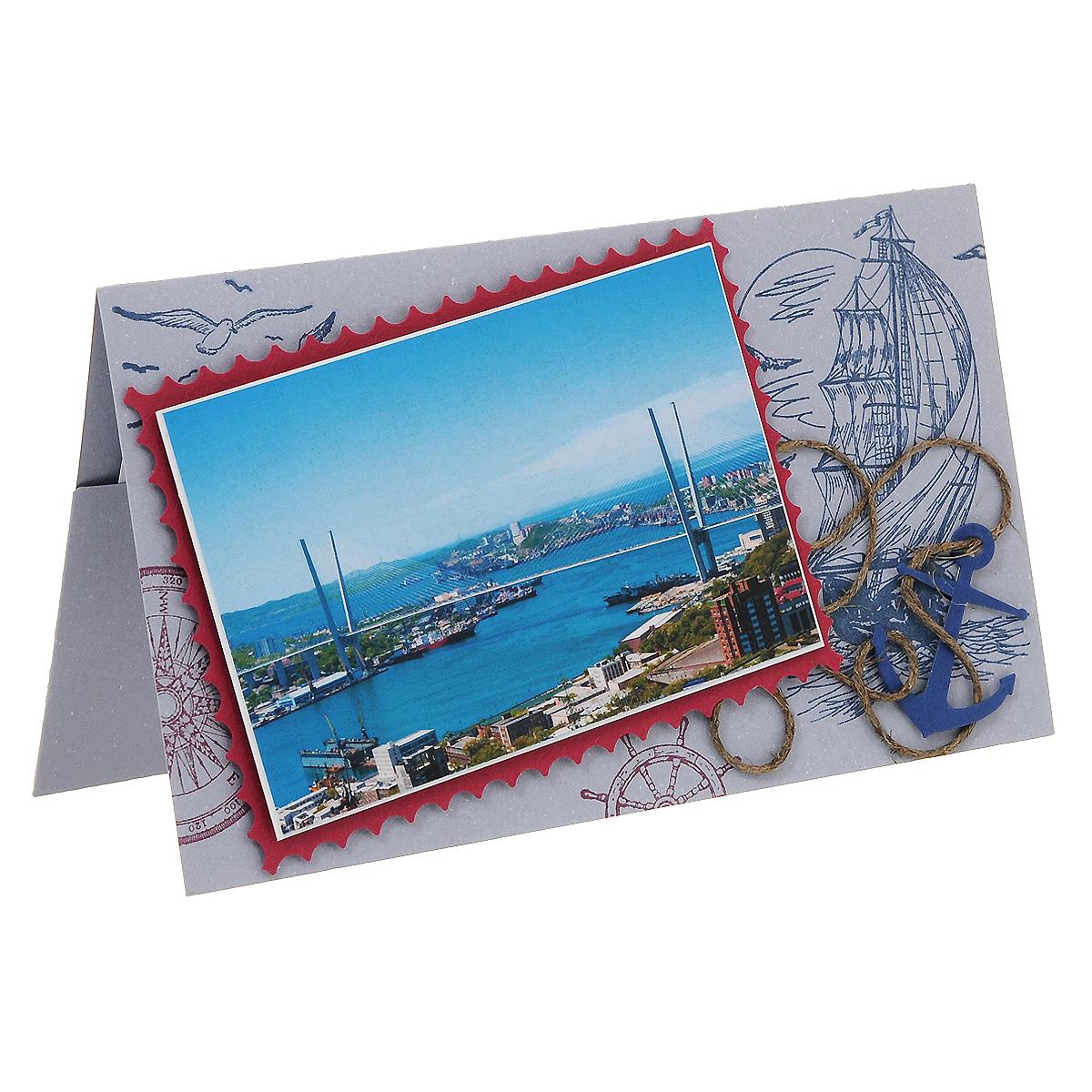 ОРАЗ-0004 Открытка-конверт «С наилучшими пожеланиями!» (Владивосток, мост «Золотой рог»). Студия «Тётя Роза»