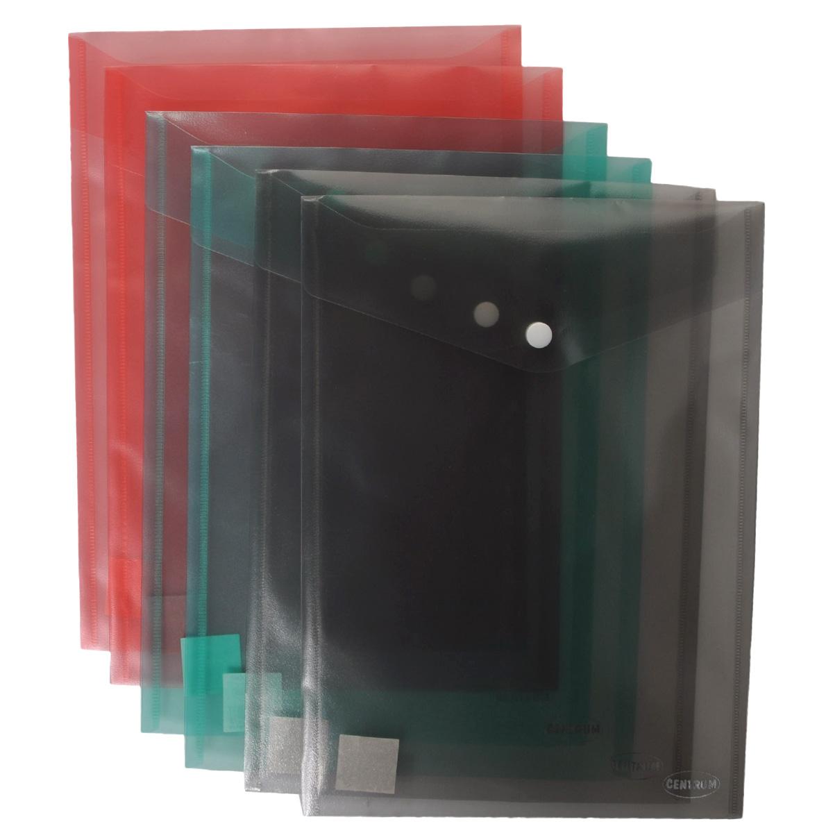 Папка-конверт на кнопке Centrum, вертикальная, в ассортименте. Формат А4, 6 шт папки канцелярские centrum папка регистр а4 5 см фиолетовая