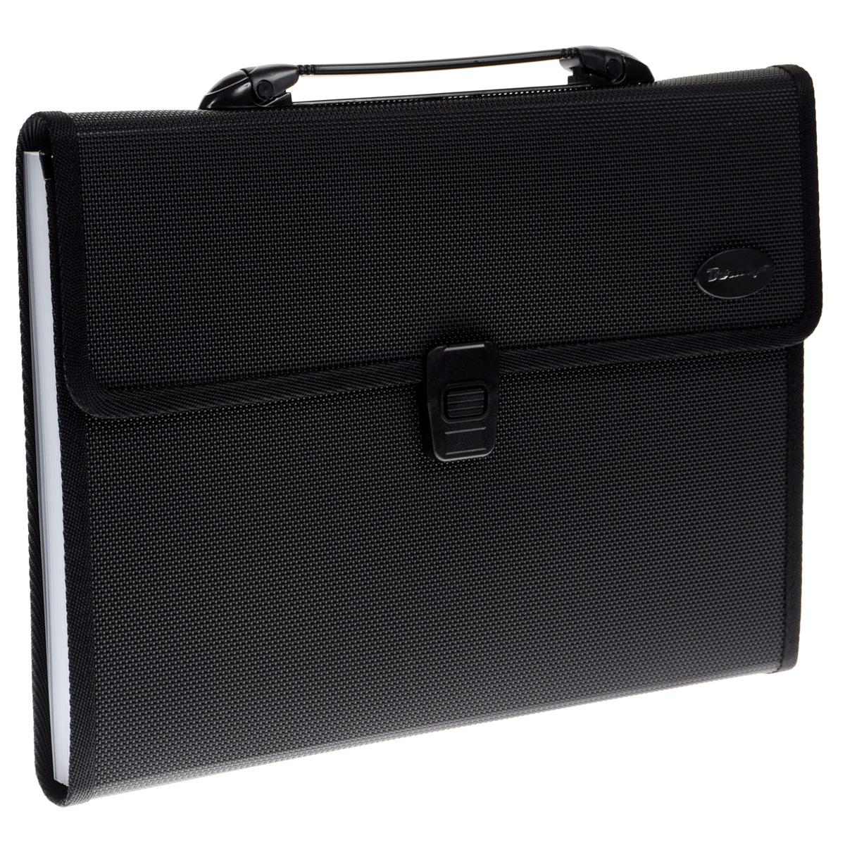Berlingo Папка-портфель цвет черныйM_2305Папка-портфель Berlingo - это удобный и практичный офисный инструмент, предназначенный для хранения и транспортировки большого количества рабочих бумаг и документов формата А4.Папка-портфель изготовлена из плотного пластика с текстурой под ткань, оснащена удобной ручкой для переноски, закрывается на широкий клапан с пластиковым замком. Внутри папка имеет 13 вместительных отделений для бумаг и документов.Папка-портфель - это незаменимый атрибут для студента, школьника, офисного работника. Такая папка надежно сохранит ваши документы и сбережет их от повреждений, пыли и влаги.