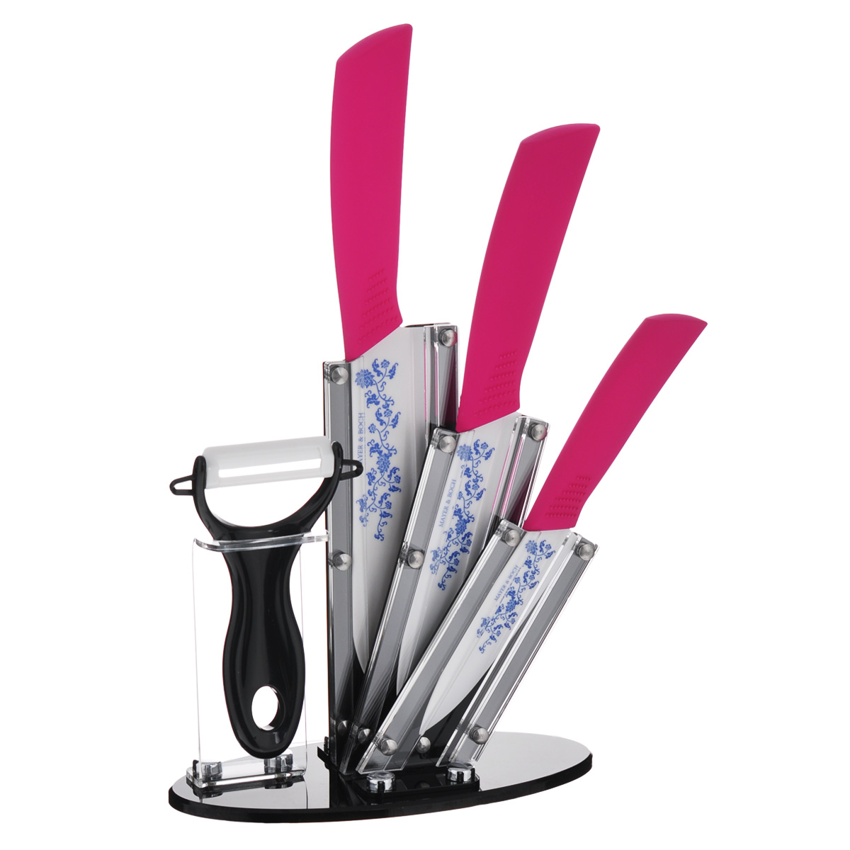 Набор керамических ножей Mayer & Boch, цвет: красный, 5 предметов. 2185321853Набор ножей Mayer & Boch состоит из поварского ножа, универсального ножа, ножа для чистки, ножа-пиллера и подставки. Лезвия ножей выполнены из высококачественной циркониевой керамики и декорированы цветочныморнаментом. Керамические ножи не подвергаются коррозии и не придают металлического привкуса или запаха, а также сохраняют свежесть продуктов. Режущая кромка лезвий устойчива к притуплению. Ножи высоко гигиеничныи легки в очистке.Рукоятки эргономичной формы выполнены из ABS-пластика с прорезиненным покрытием. Специальный дизайн рукоятки обеспечивает комфортный и легко контролируемый захват.В комплект входит акриловая подставка.В наборе есть все необходимое для ежедневной нарезки фруктов, овощей и мяса. Ножи не рекомендуется мыть в посудомоечной машине.Длина лезвия поварского ножа: 15,2 см.Общая длина поварского ножа: 27 см.Длина лезвия универсального ножа: 13 см.Общая длина универсального ножа: 24,5 см.Длина лезвия ножа для чистки: 10 см.Общая длина ножа для чистки: 20,5 см.Длина лезвия ножа-пиллера: 4,2 см.Длина ножа-пиллера: 13 см.Размер подставки (ДхШхВ): 18 см х 9 см х 18,5 см.