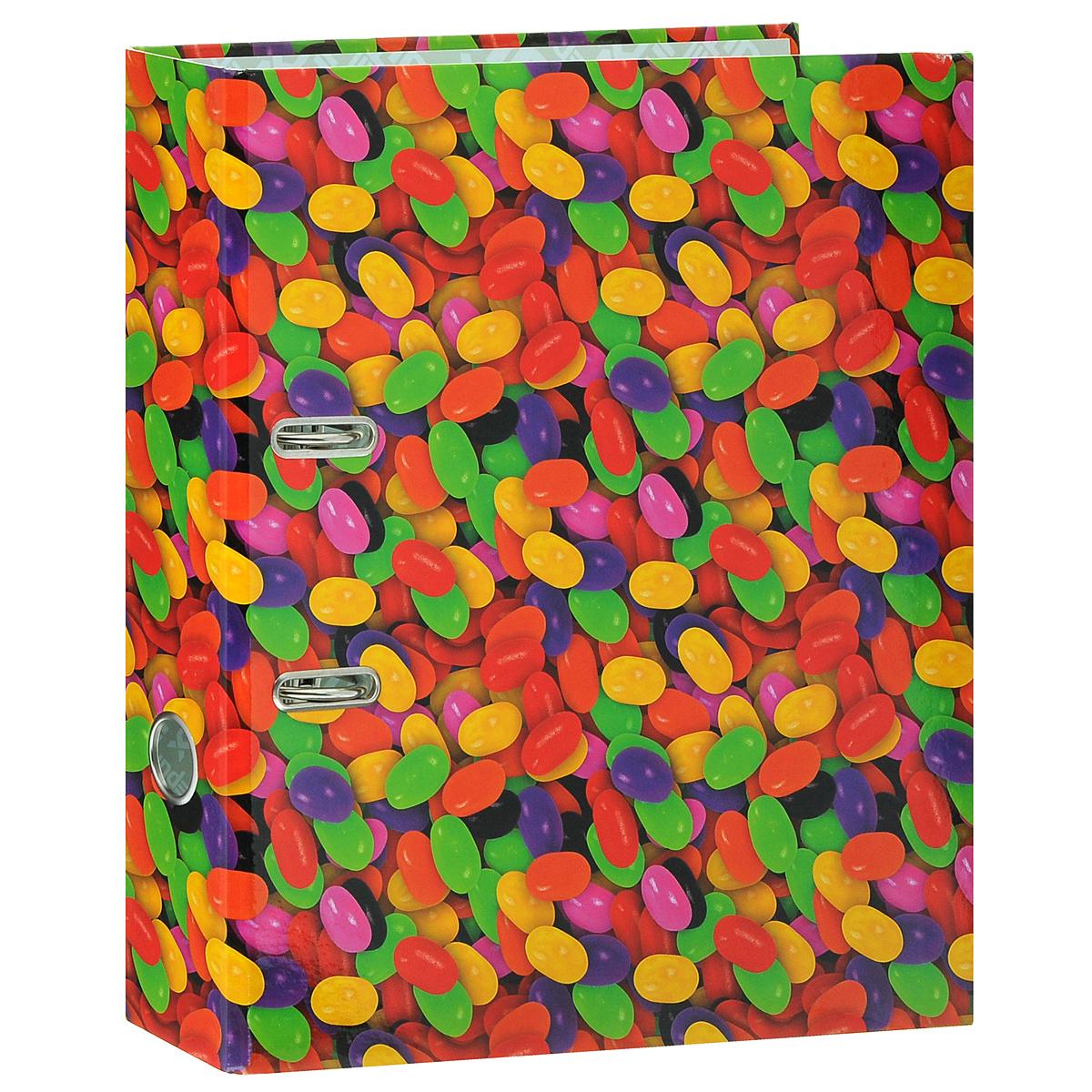 Папка-регистратор Index Драже, ширина корешка 80 мм, цвет: красный, желтый, зеленыйIN111105Папка-регистратор Index Драже незаменима для работы с большими объемами бумаг дома и в офисе. Папка изготовлена из износостойкого высококачественного картона толщиной 2 мм, имеет ламинацию как снаружи, так и внутри. Папка оснащена прочным металлическим арочным механизмом, обеспечивающим надежную фиксацию перфорированных бумаг и документов формата А4. Для папки используется фурнитура только европейского производства. На торце папки расположено металлическое кольцо для удобства использования. Обложка папки оформлена красочным изображением разноцветной россыпи конфет.Папка-регистратор станет вашим надежным помощником, она упростит работу с бумагами и документами и защитит их от повреждения, пыли и влаги.