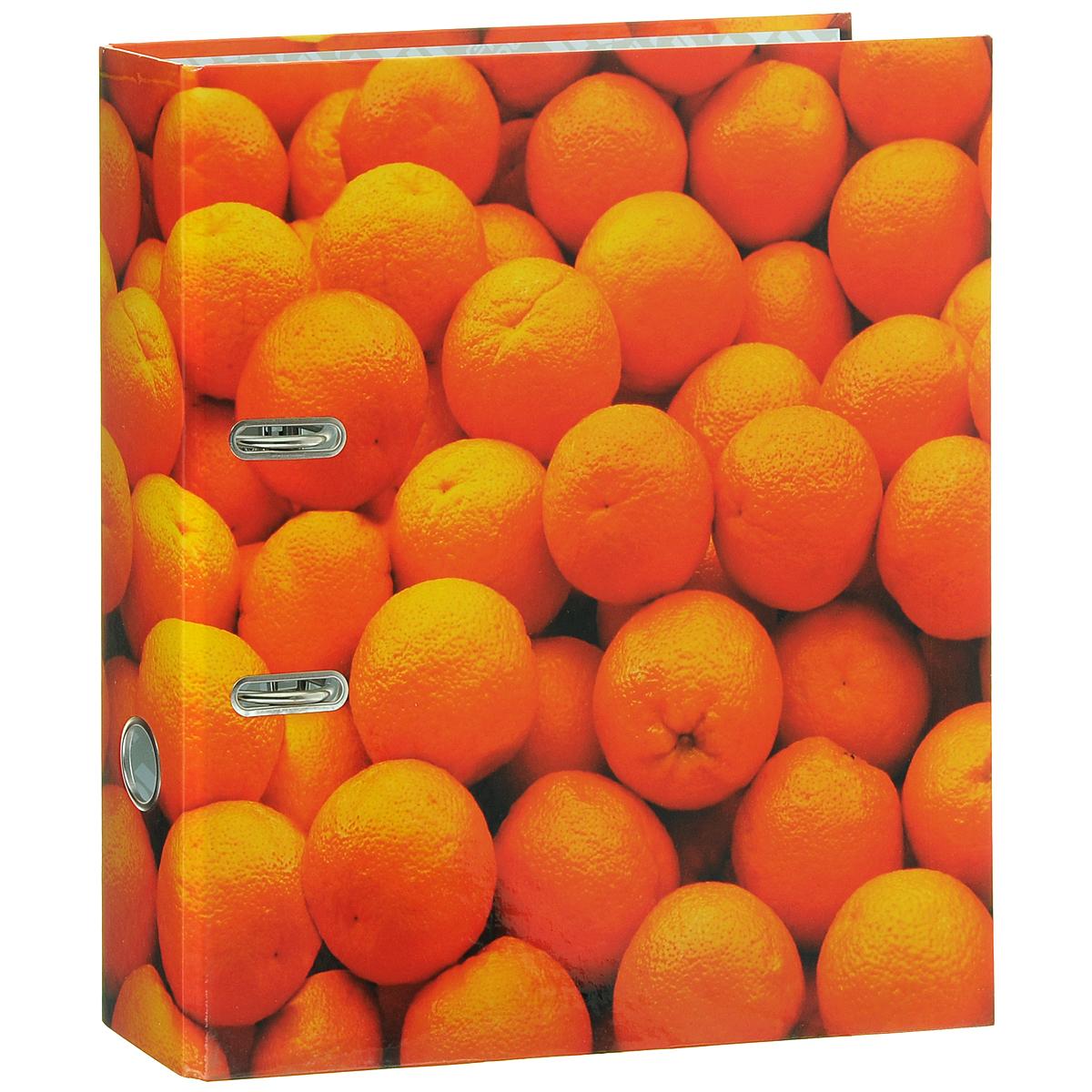 """Папка-регистратор Index """"Апельсин"""", ширина корешка 80 мм, цвет: оранжевый"""