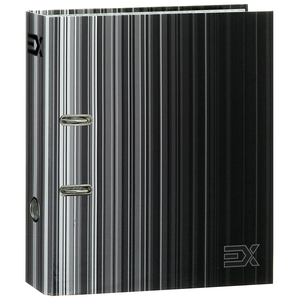 """Папка-регистратор Index """"Extra"""", ширина корешка 80 мм, цвет: черный, серый"""