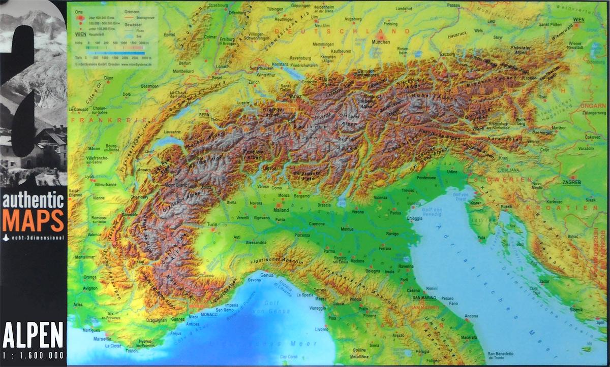 Альпы. Настенная голографическая 3D карта / Alpen: Authentic Maps