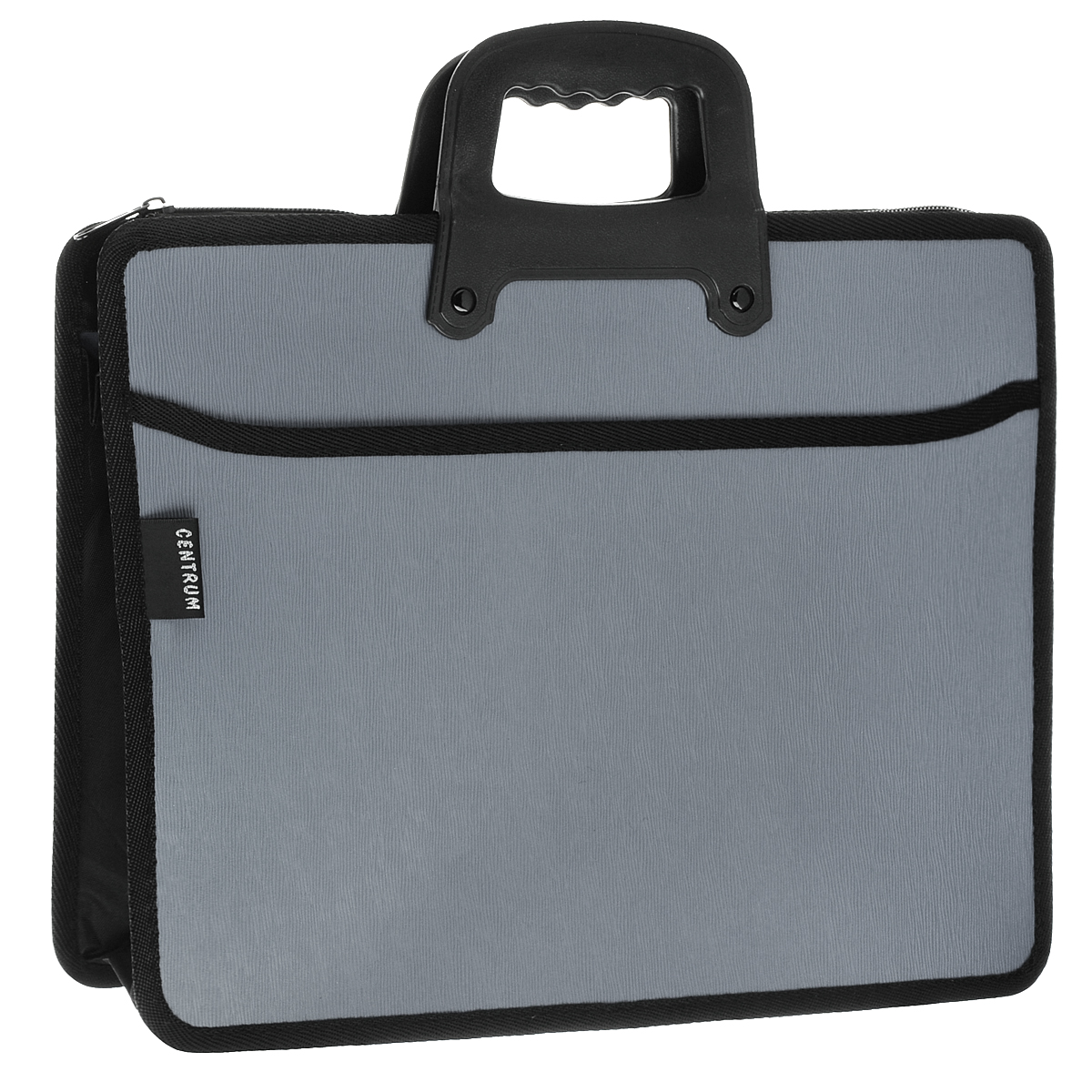 """Папка-портфель на молнии """"Centrum"""", 2 отделения, с ручкой, цвет: светло-серый. 82263"""