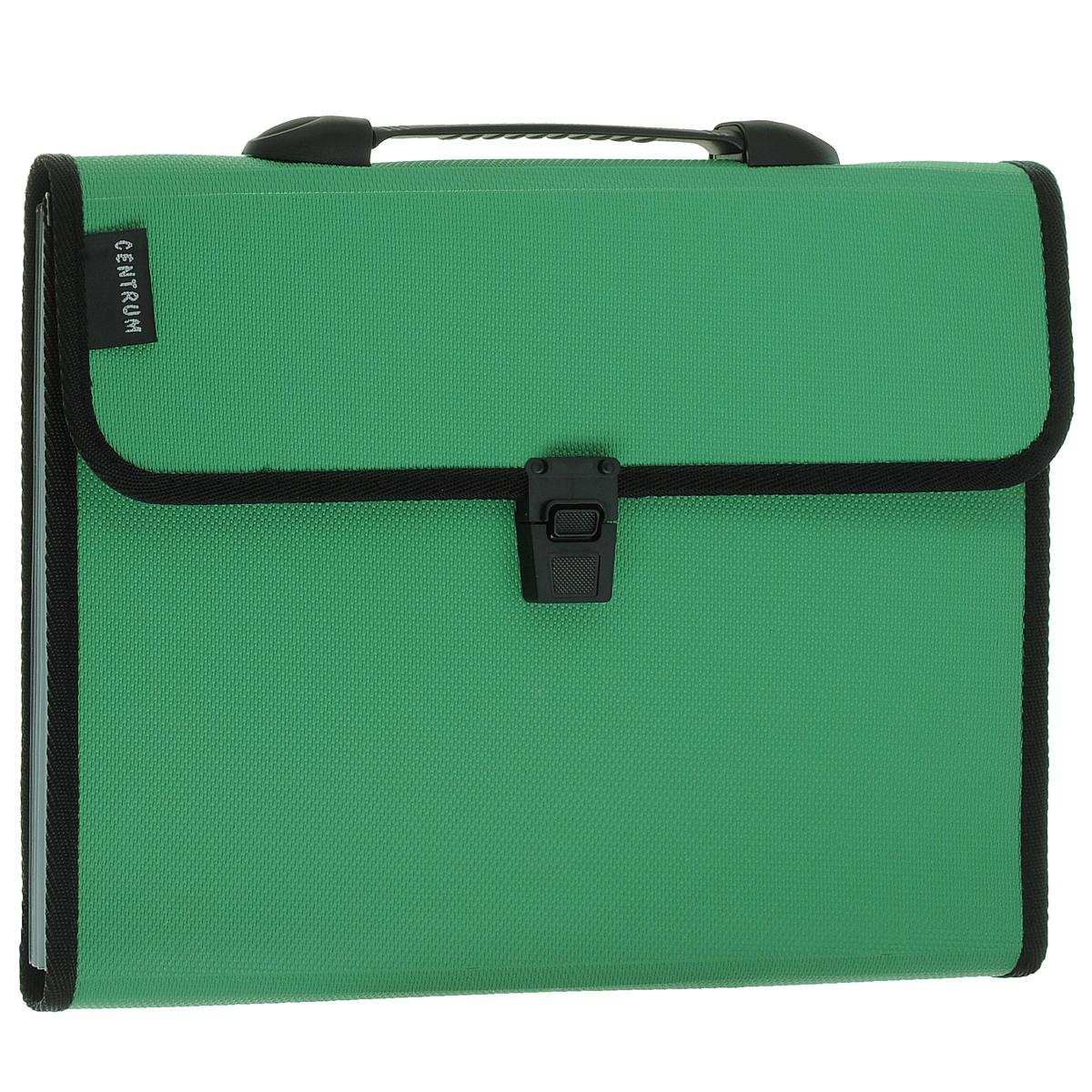 """Папка-портфель """"Centrum"""", 6 отделений, с ручкой, цвет: зеленый. Формат А4"""
