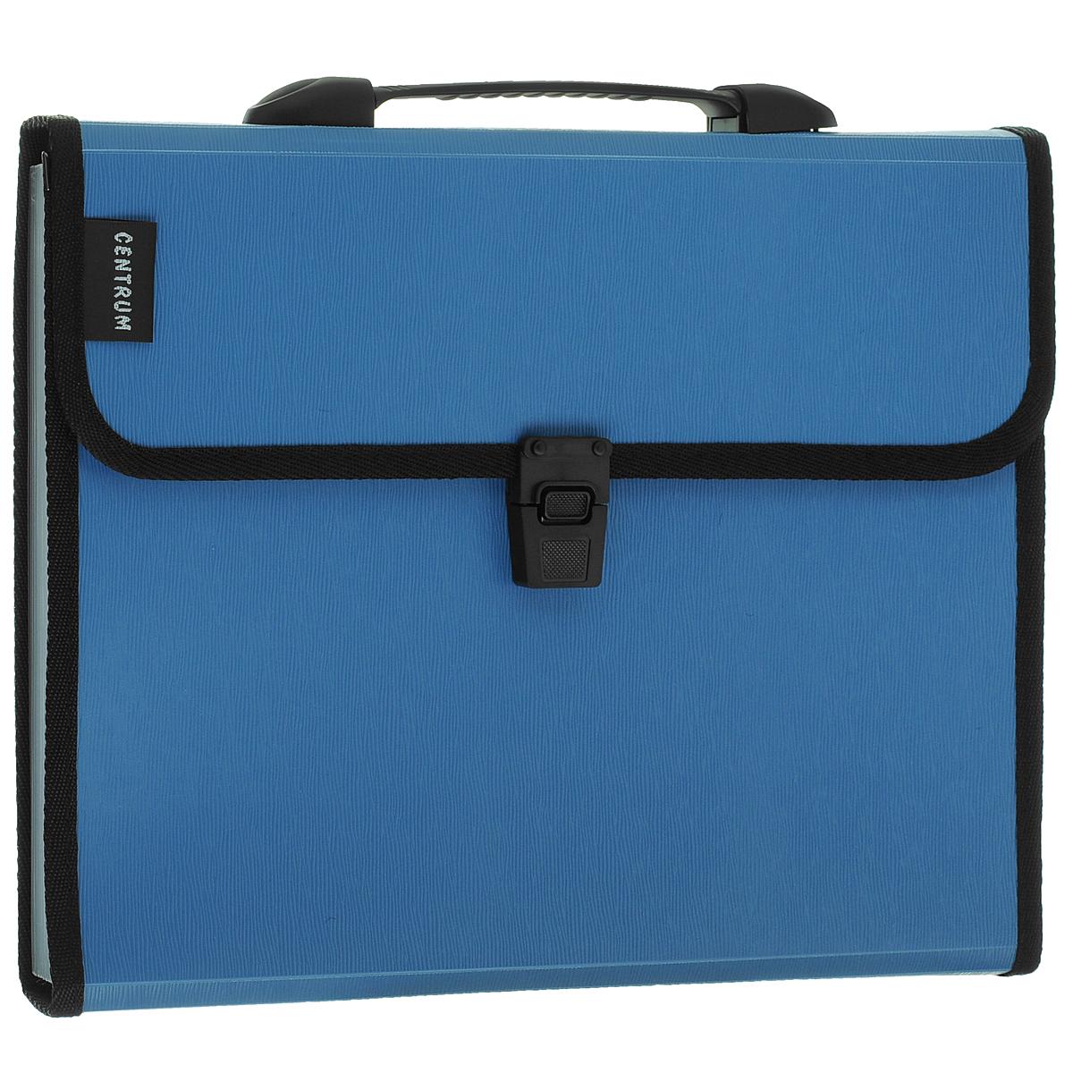 """Папка-портфель """"Centrum"""", 13 отделений, с ручкой, цвет: голубой. Формат А4"""