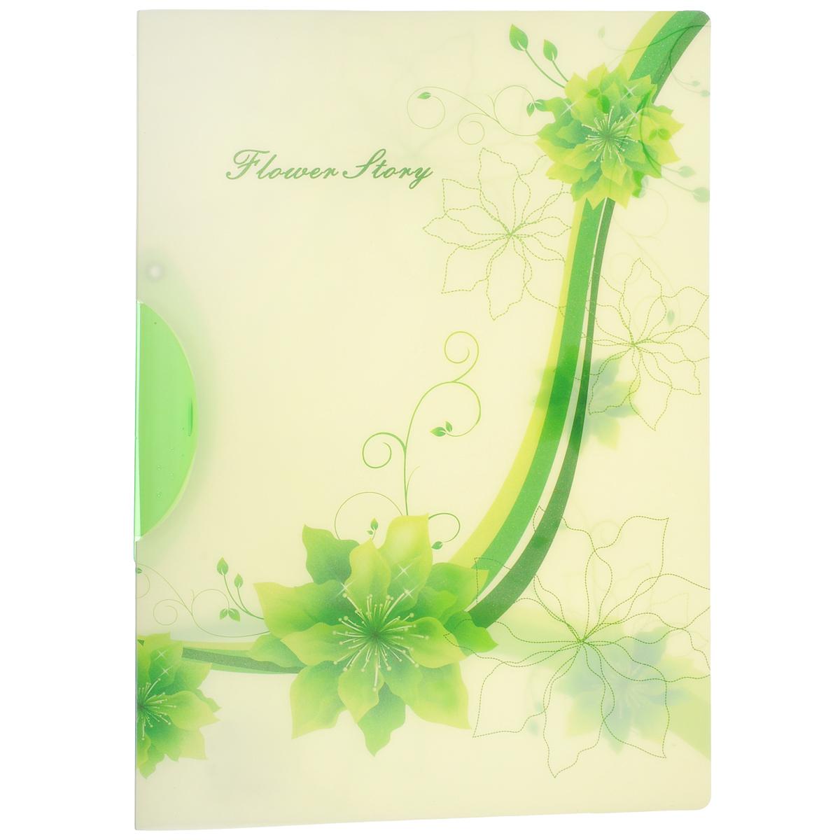Папка с клипом Centrum Flower Story, цвет: зеленый. Формат А4K13521Папка с клипом Centrum Flower Story станет вашим верным помощником дома и в офисе. Это удобный и функциональный инструмент, предназначенный для хранения и транспортировки рабочих бумаг и документов формата А4. Папка изготовлена из прочного высококачественного пластика, оснащена боковым поворотным клипом, позволяющим фиксировать неперфорированные листы. Уголки имеют закругленную форму, что предотвращает их загибание и помогает надолго сохранить опрятный вид обложки. Папка оформлена оригинальным изображением цветов.Папка - это незаменимый атрибут для любого студента, школьника или офисного работника. Такая папка надежно сохранит ваши бумаги и сбережет их от повреждений, пыли и влаги.