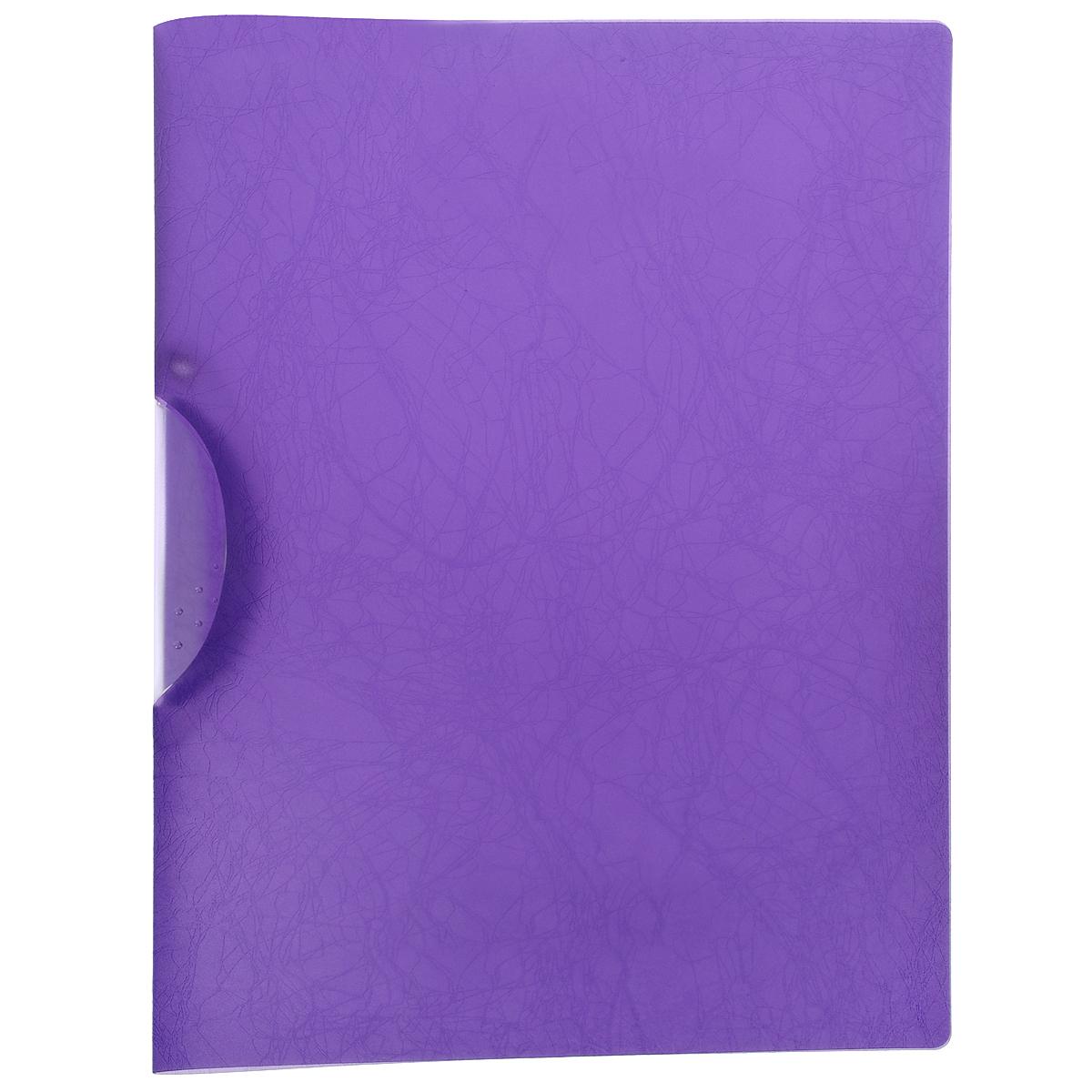 Папка с клипом Centrum Soft Touch, цвет: фиолетовый. Формат А484018ФПапка с клипом Centrum Soft Touch станет вашим верным помощником дома и в офисе. Это удобный и функциональный инструмент, предназначенный для хранения и транспортировки рабочих бумаг и документов формата А4.Папка изготовлена из прочного высококачественного пластика, оснащена боковым клипом, позволяющим фиксировать неперфорированные листы. Уголки имеют закругленную форму, что предотвращает их загибание и помогает надолго сохранить опрятный вид обложки. Папка оформлена тиснением под кожу.Папка - это незаменимый атрибут для любого студента, школьника или офисного работника. Такая папка надежно сохранит ваши бумаги и сбережет их от повреждений, пыли и влаги.