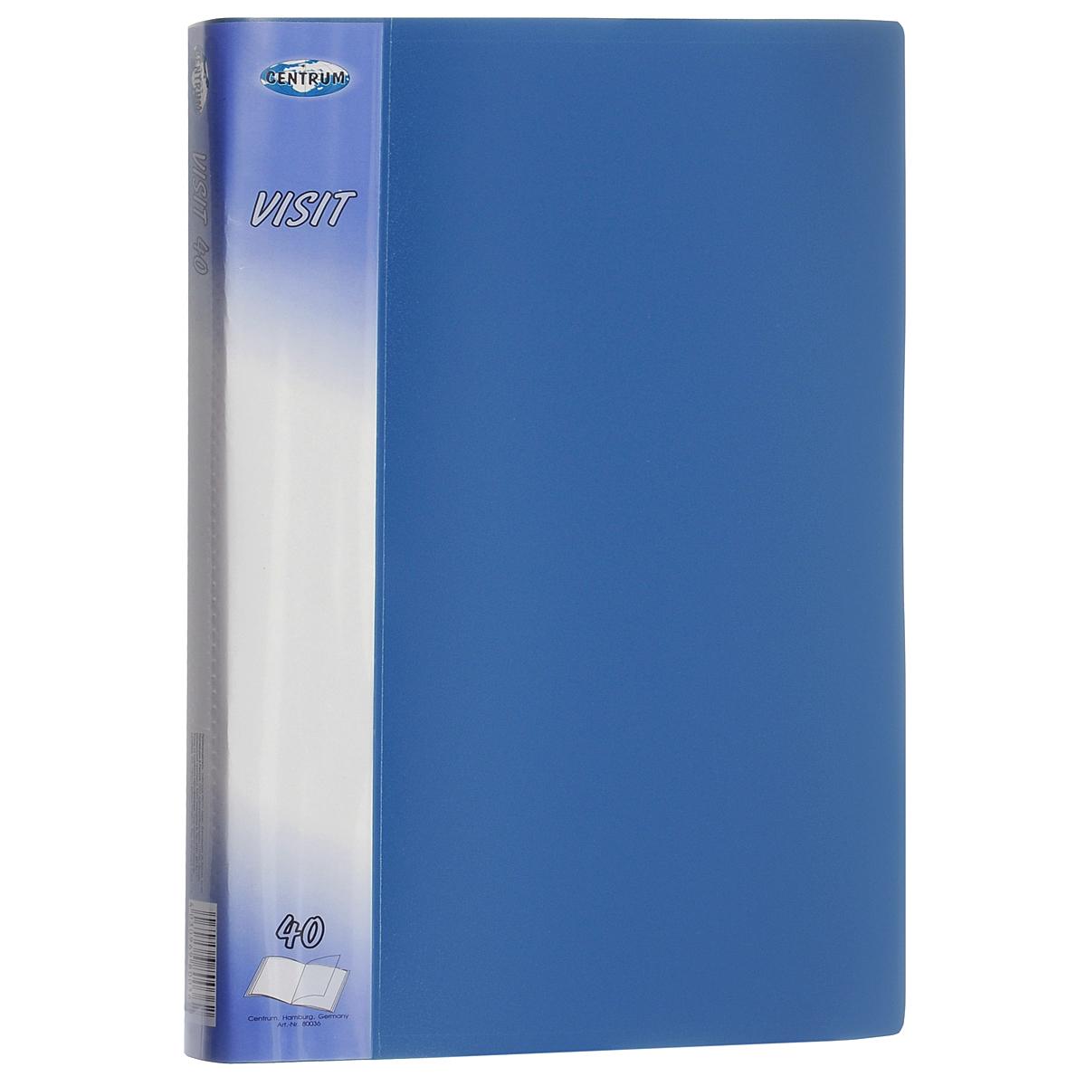 Папка Centrum Visit, 40 файлов, цвет: голубой. Формат А480036СПапка Centrum Visit - это удобный и функциональный офисный инструмент, предназначенный для хранения и транспортировки бумаг и документов формата А4. Обложка папки изготовлена из износостойкого непрозрачного пластика повышенной плотности и включает в себя 40 вкладышей-файлов формата А4. Папка имеет опрятный и неброский вид. Уголки папки закруглены, что предотвращает их загибание и надолго обеспечивает опрятный вид папки.Папка - это незаменимый атрибут для студента, школьника, офисного работника. Такая папка надежно сохранит ваши документы и сбережет их от повреждений, пыли и влаги.