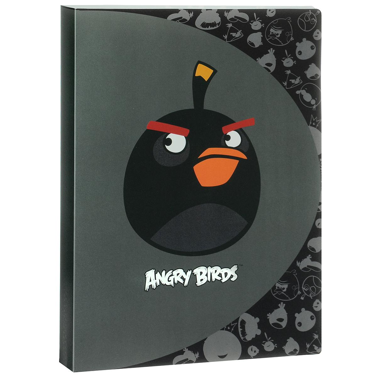 Папка Centrum Angry Birds, на 20 файлов, цвет: черный. Формат А484699ЧПапка Centrum Angry Birds - это удобный и функциональный офисный инструмент, предназначенный для хранения и транспортировки рабочих бумаг и документов формата А4.Папка изготовлена из прочного высококачественного пластика и включает в себя 20 прозрачных вкладышей-файлов. Обложка папки выполнена из матового пластика и оформлена изображением сердитой птички из игры Angry Birds. Папка имеет опрятный и неброский вид. Уголки папки имеют закругленную форму, что предотвращает их загибание и помогает надолго сохранить опрятный вид обложки.Папка - это незаменимый атрибут для любого студента или школьника. Такая папка надежно сохранит ваши бумаги и сбережет их от повреждений, пыли и влаги, а забавные птички обязательно поднимут вам настроение!