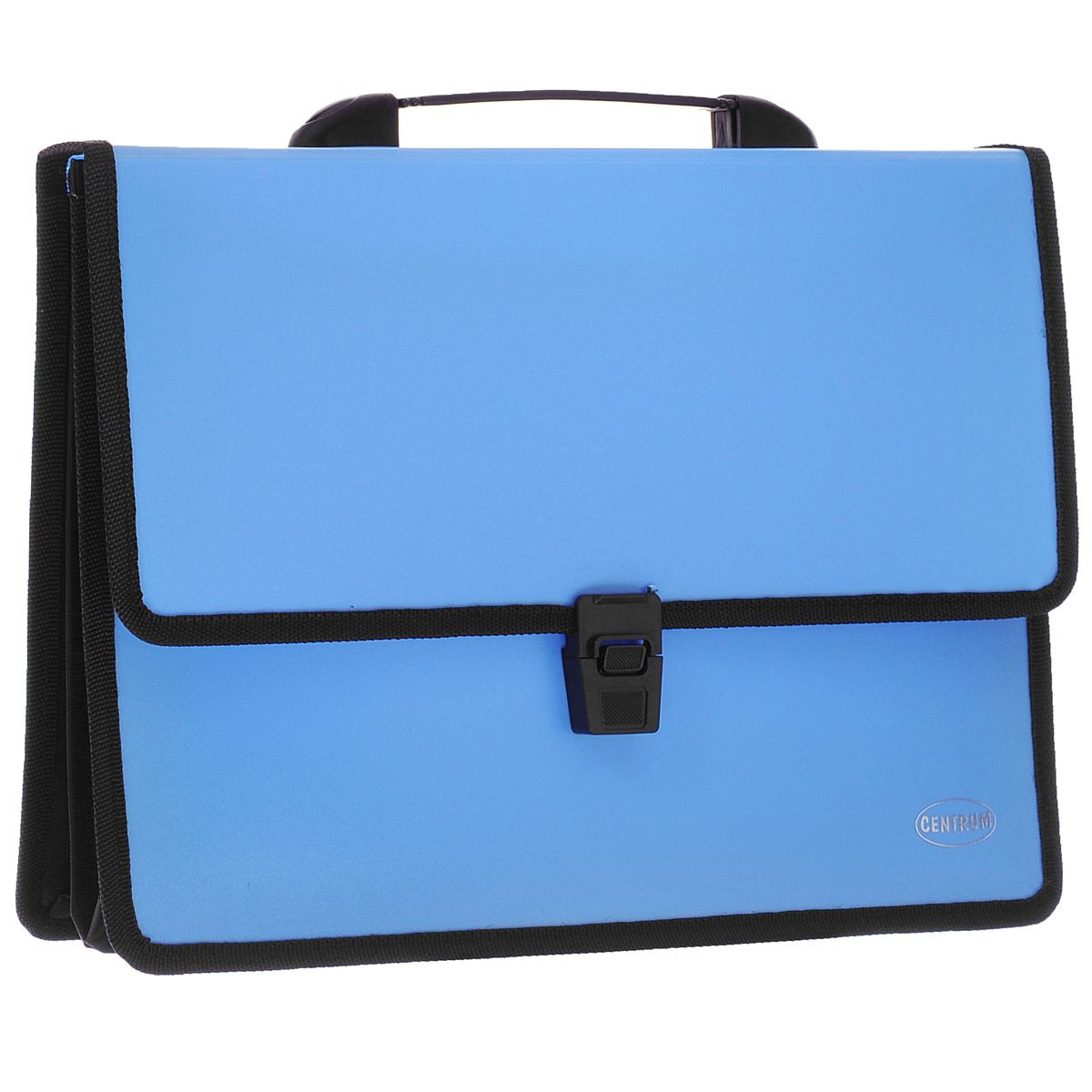 Папка-портфель Centrum, 2 отделения, с ручкой, цвет: голубой80610СПапка-портфель Centrum станет вашим верным помощником дома и в офисе. Это удобный и функциональный инструмент, предназначенный для хранения и транспортировки больших объемов рабочих бумаг и документов формата А4.Папка изготовлена из износостойкого высококачественного пластика толщиной 0,70 мм, и закрывается на широкий клапан с замком. Состоит из 2 вместительных отделений. Грани папки отделаны полиэстером, а уголки закруглены для обеспечения дополнительной прочности и сохранности опрятного вида папки. Папка имеет удобную ручку для переноски.Папка - это незаменимый атрибут для любого студента, школьника или офисного работника. Такая папка надежно сохранит ваши бумаги и сбережет их от повреждений, пыли и влаги.
