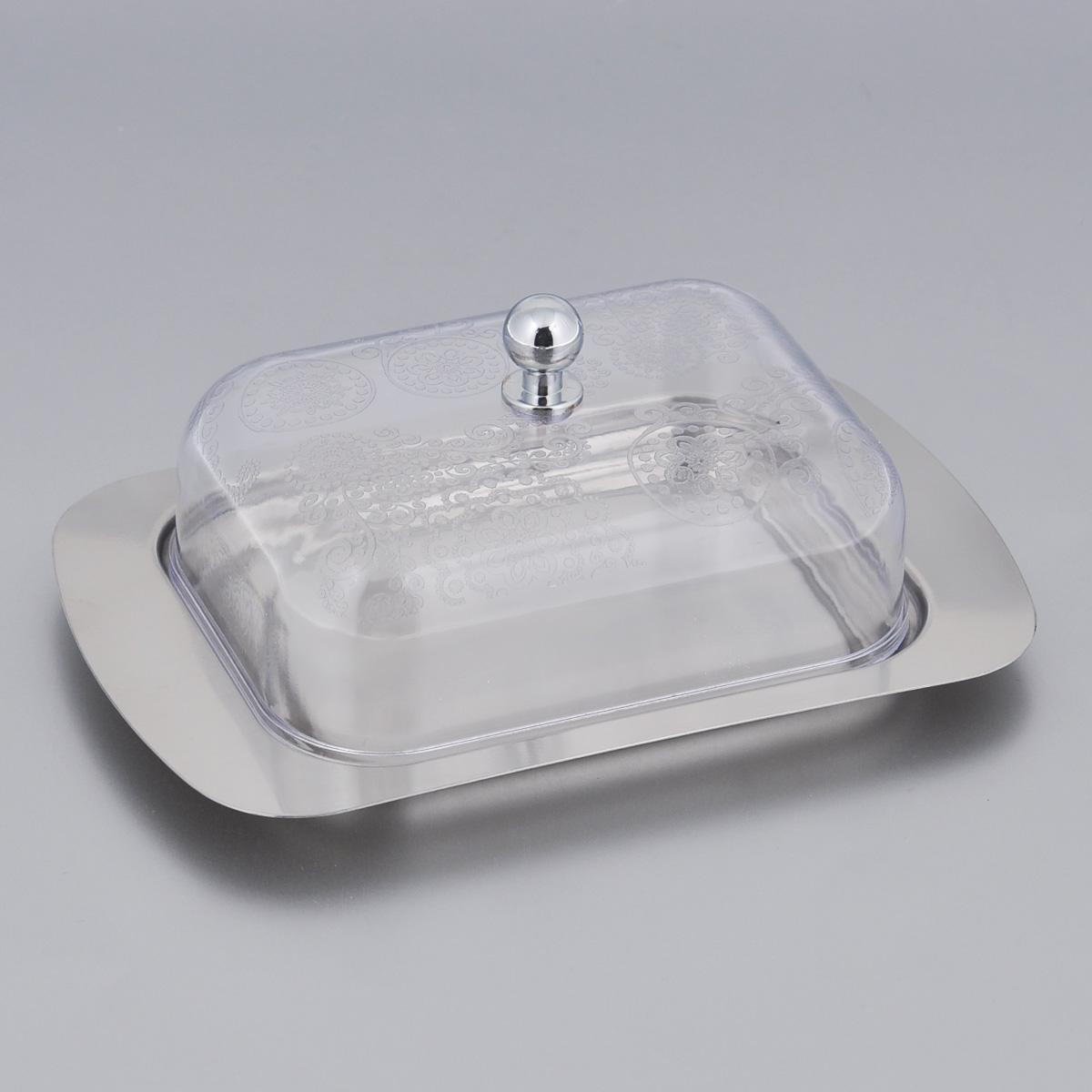Масленка Mayer & Boch. 2351723517Масленка Mayer & Boch предназначена для красивой сервировки и хранения масла. Она состоит из пластиковой крышки с удобной ручкой и подноса из нержавеющей стали. Масло в ней долго остается свежим, а при хранении в холодильнике не впитывает посторонние запахи. Гладкая поверхность обеспечивает легкую чистку. Можно мыть в посудомоечной машине. Размер подноса: 19 см х 12 см х 1,5 см. Размер крышки: 13 см х 10 см х 6 см.