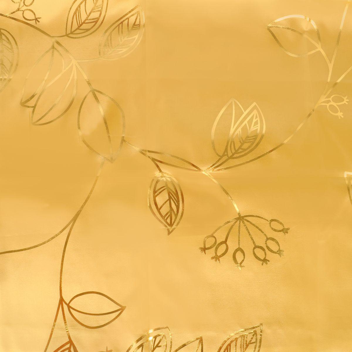 Штора Home Queen Металлик, на люверсах, цвет: золотистый, ширина 142, высота 275 см. 6502365023Изящная штора Home Queen Металлик выполнена из полиэстера. Плотная ткань, приятная цветовая гамма и оригинальный металлизированный рисунок привлекут к себе внимание и органично впишутся в интерьер помещения. Эта штора будет долгое время радовать вас и вашу семью!Штора крепится на карниз при помощи люверсов.Диаметр отверстия люверса: 4 см.